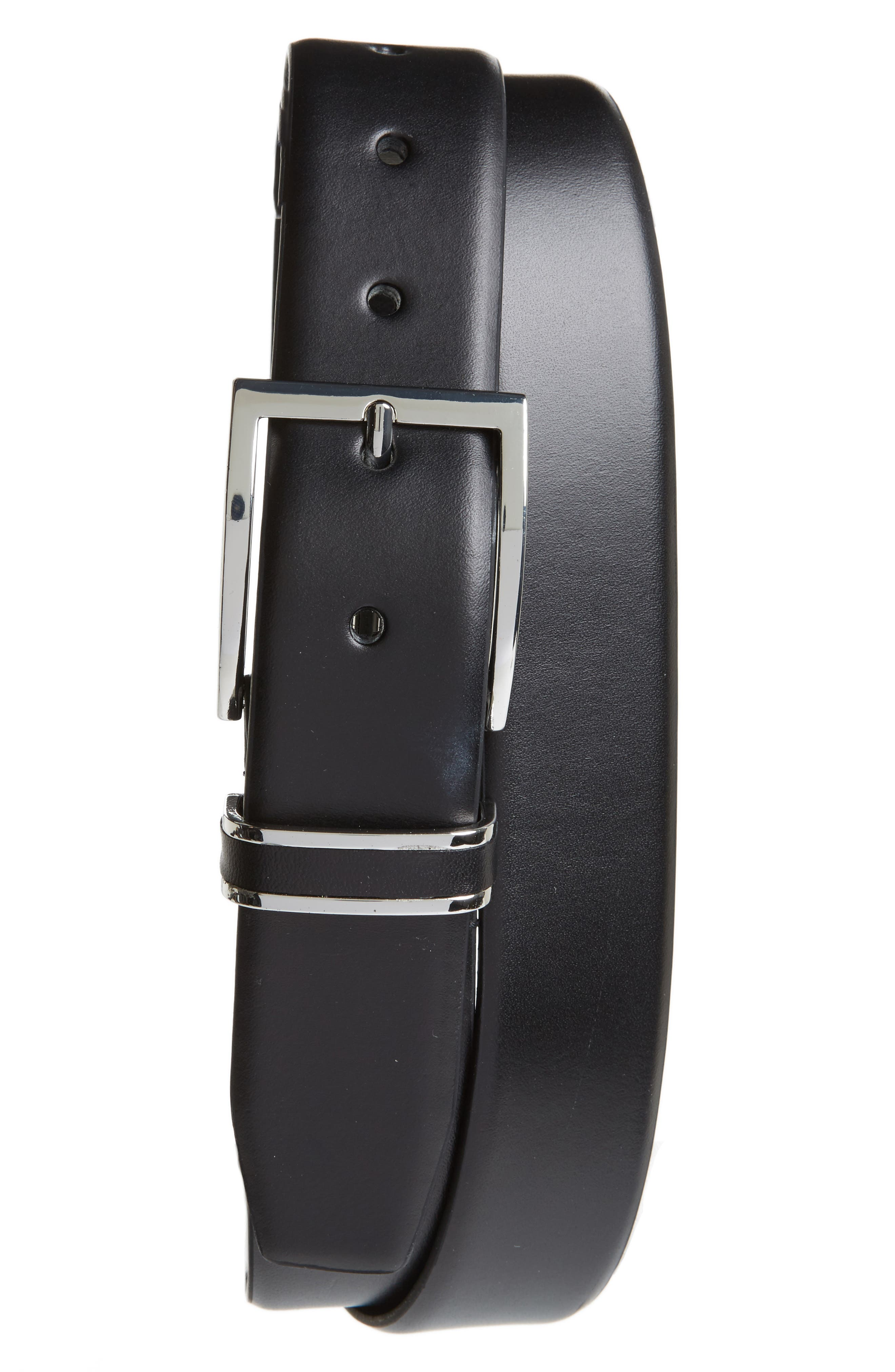 Lynden Leather Belt,                             Main thumbnail 1, color,                             Black