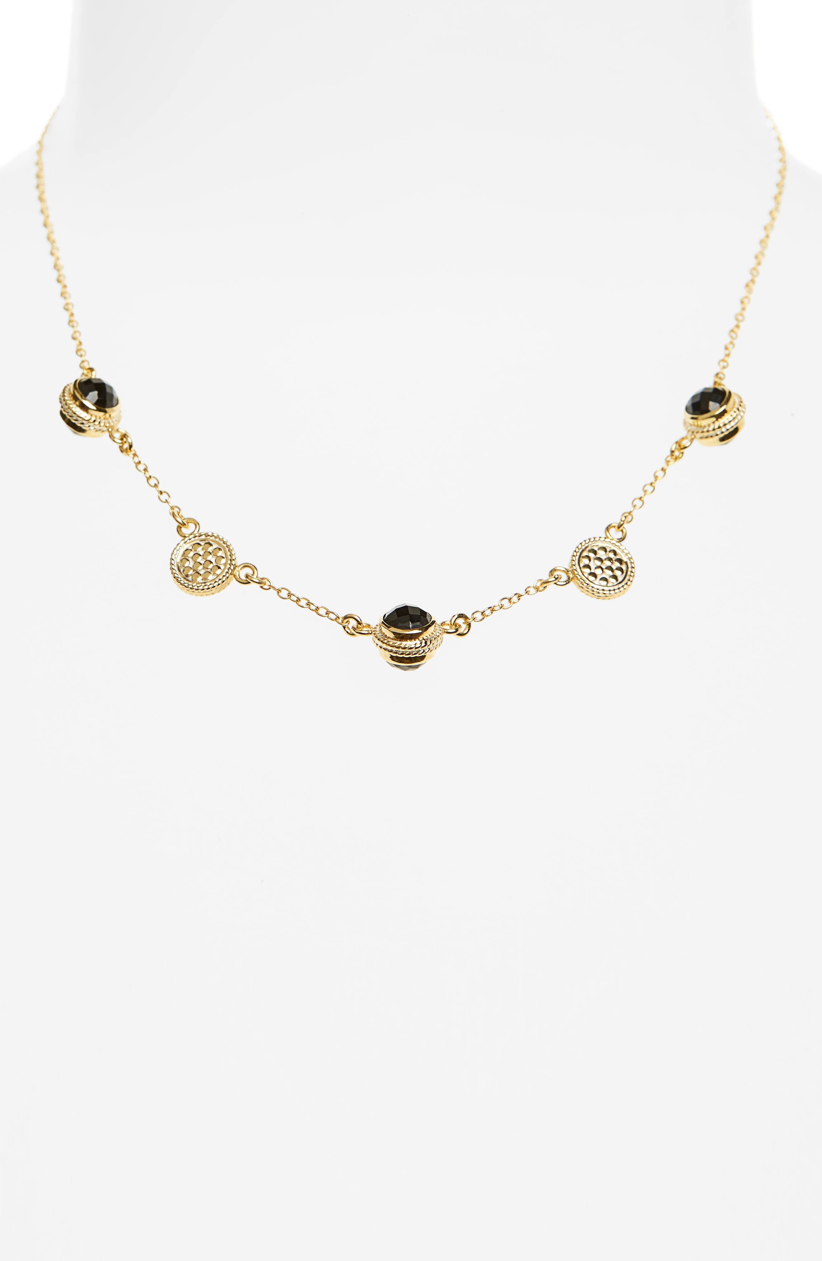 Semiprecious Stone Station Necklace,                         Main,                         color, Gold/ Black Onyx