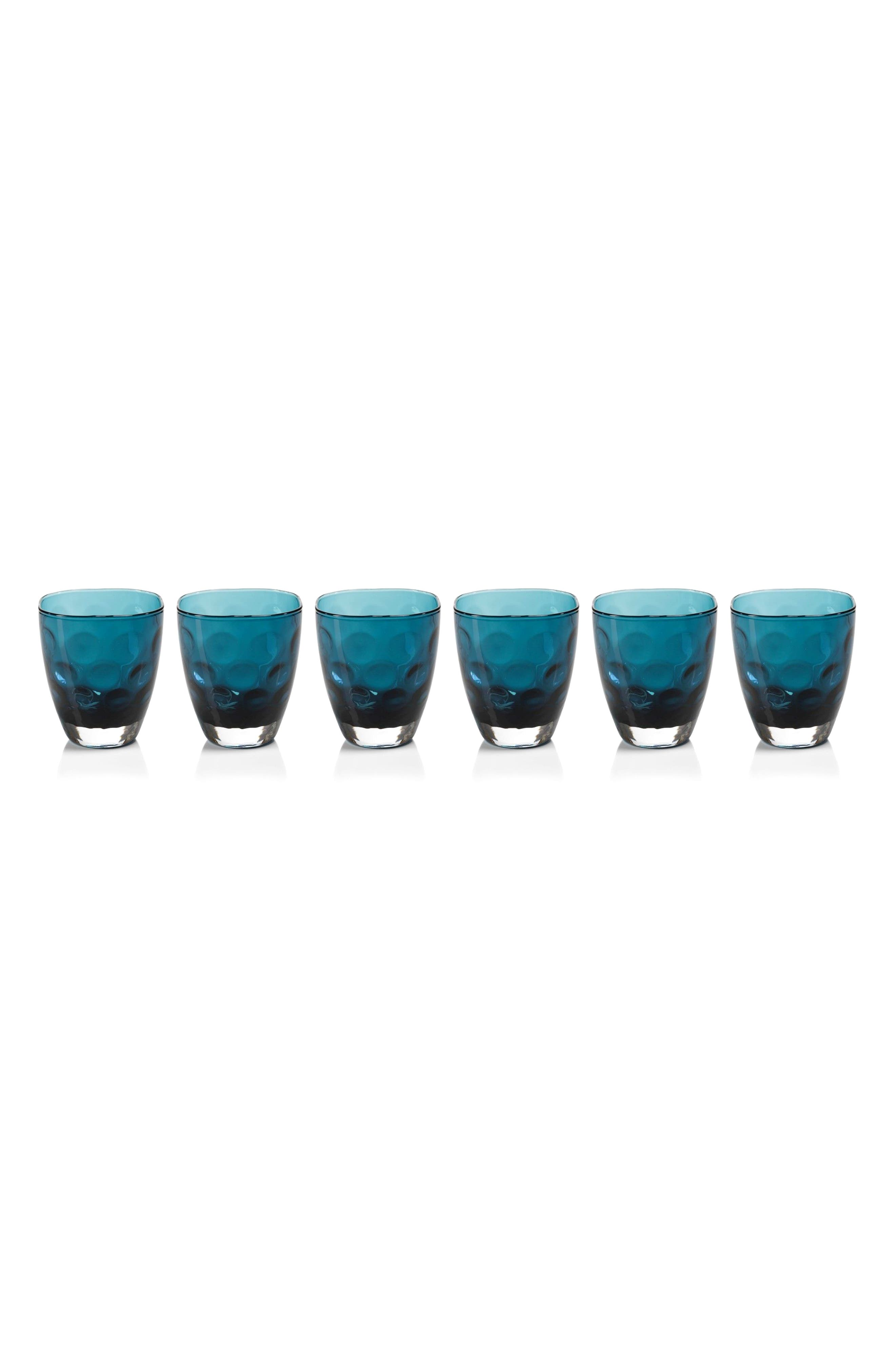 Dimpled Set of 6 Double Old Fashioned Glasses,                         Main,                         color, Blue