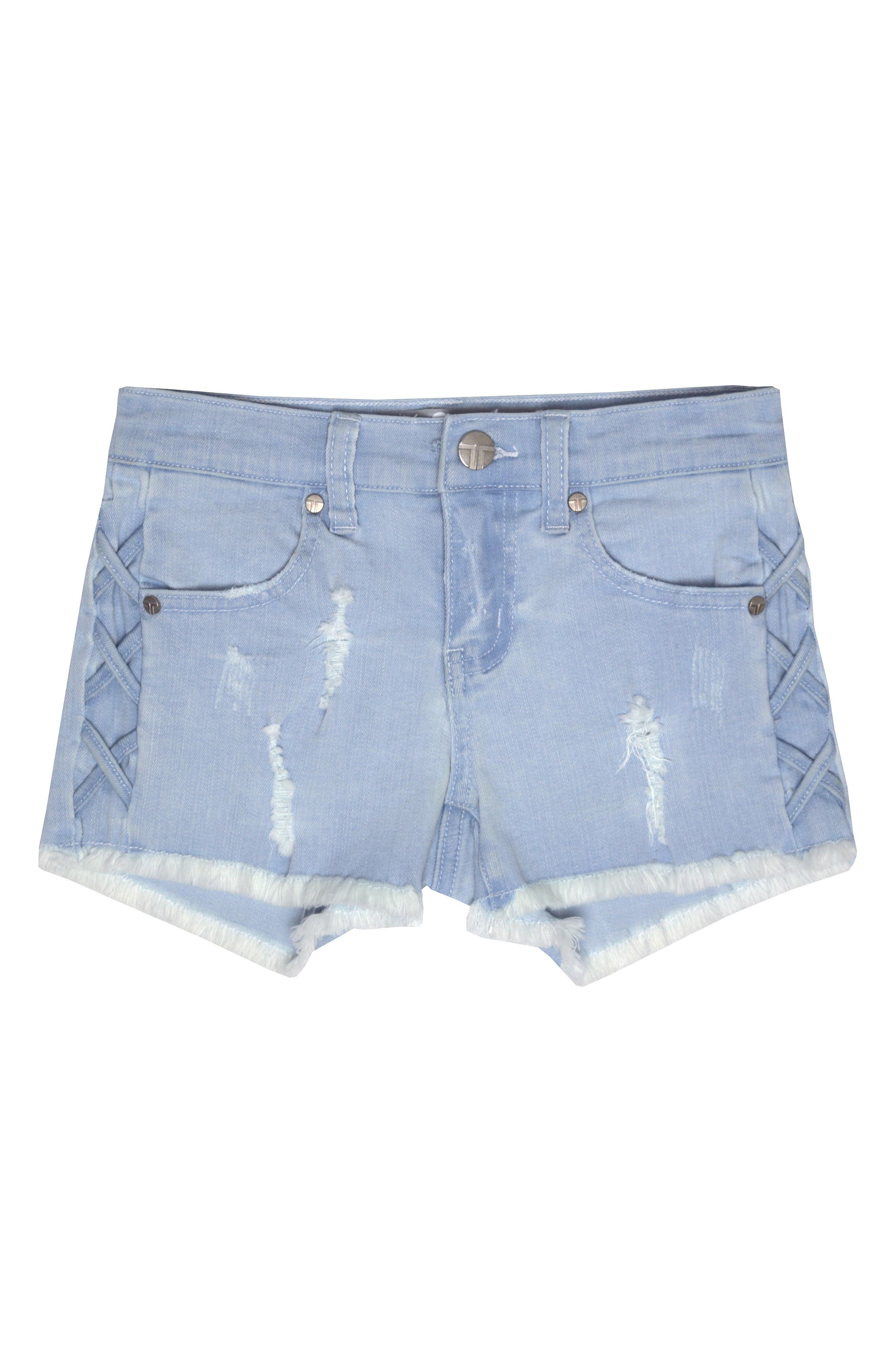 Main Image - Tractr Distressed Cutoff Denim Shorts (Big Girls)