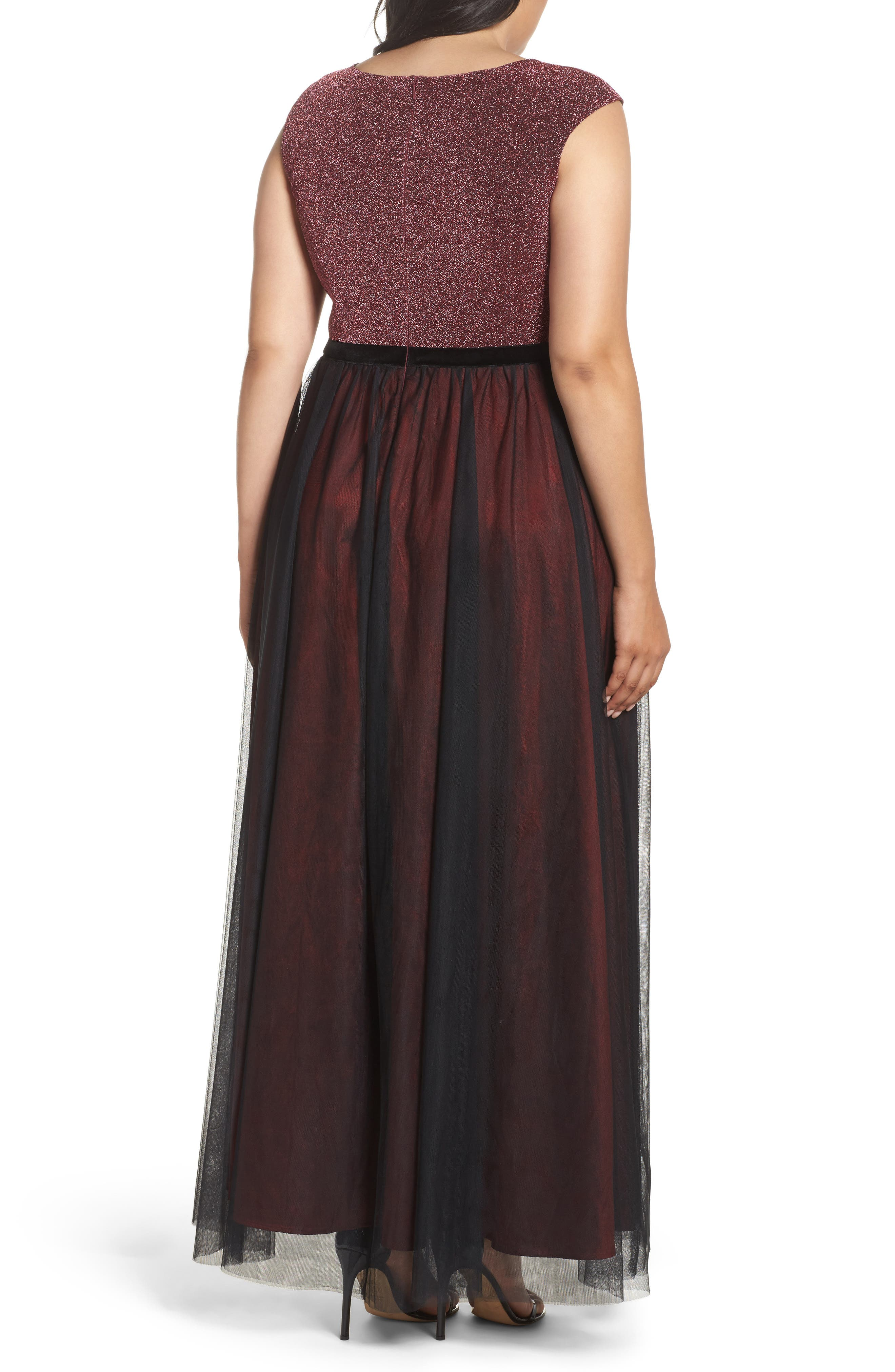 Metallic Knit & Tulle A-Line Gown,                             Alternate thumbnail 2, color,                             Black/ Berry