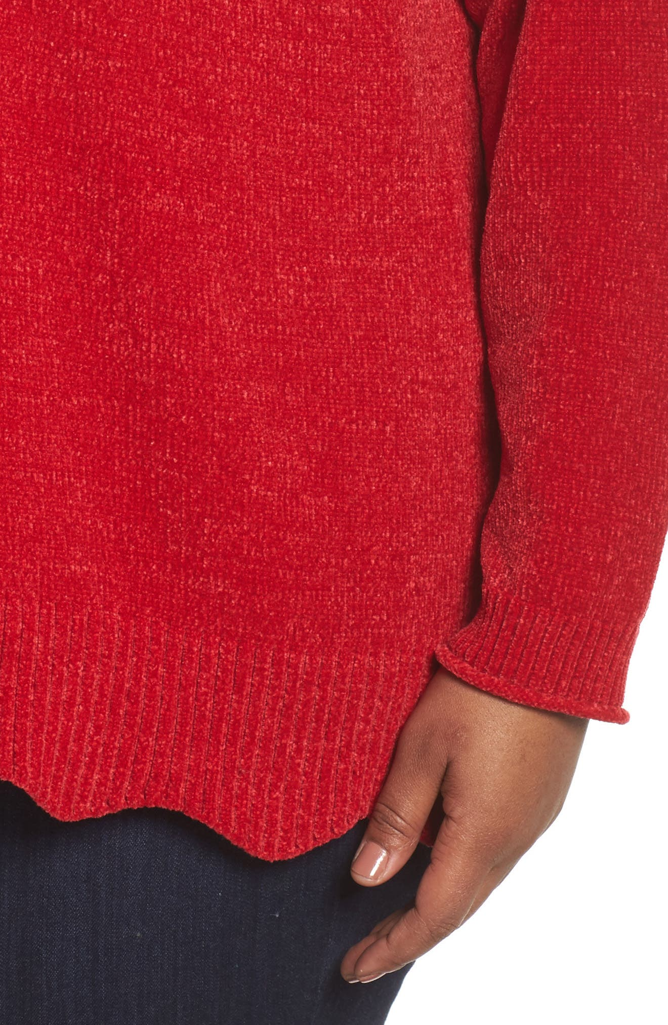 Alternate Image 5  - Sejour Scallop Hem Sweater (Plus Size)