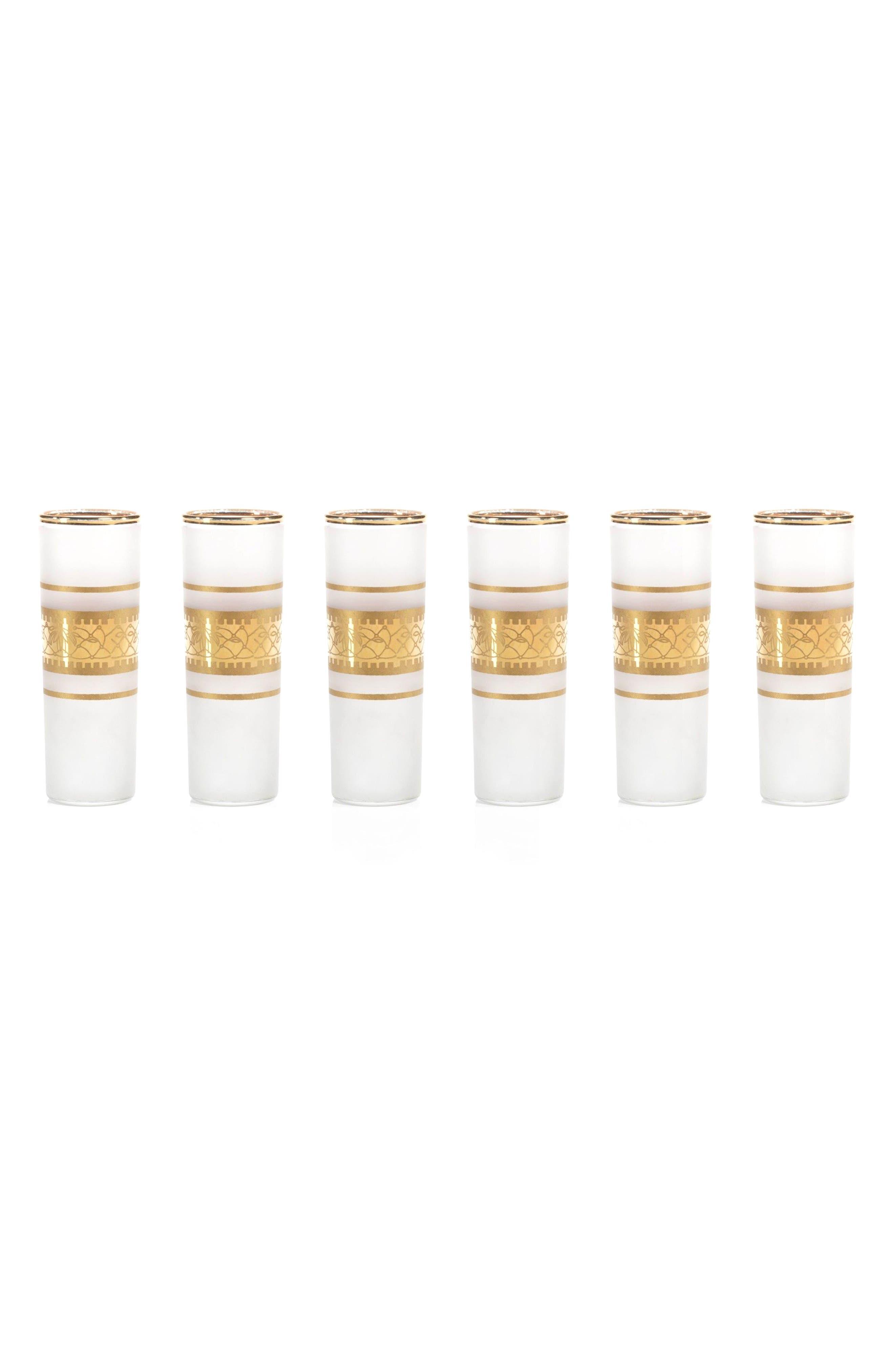 Melilla Set of 6 Shot Glasses,                         Main,                         color, White/ Gold