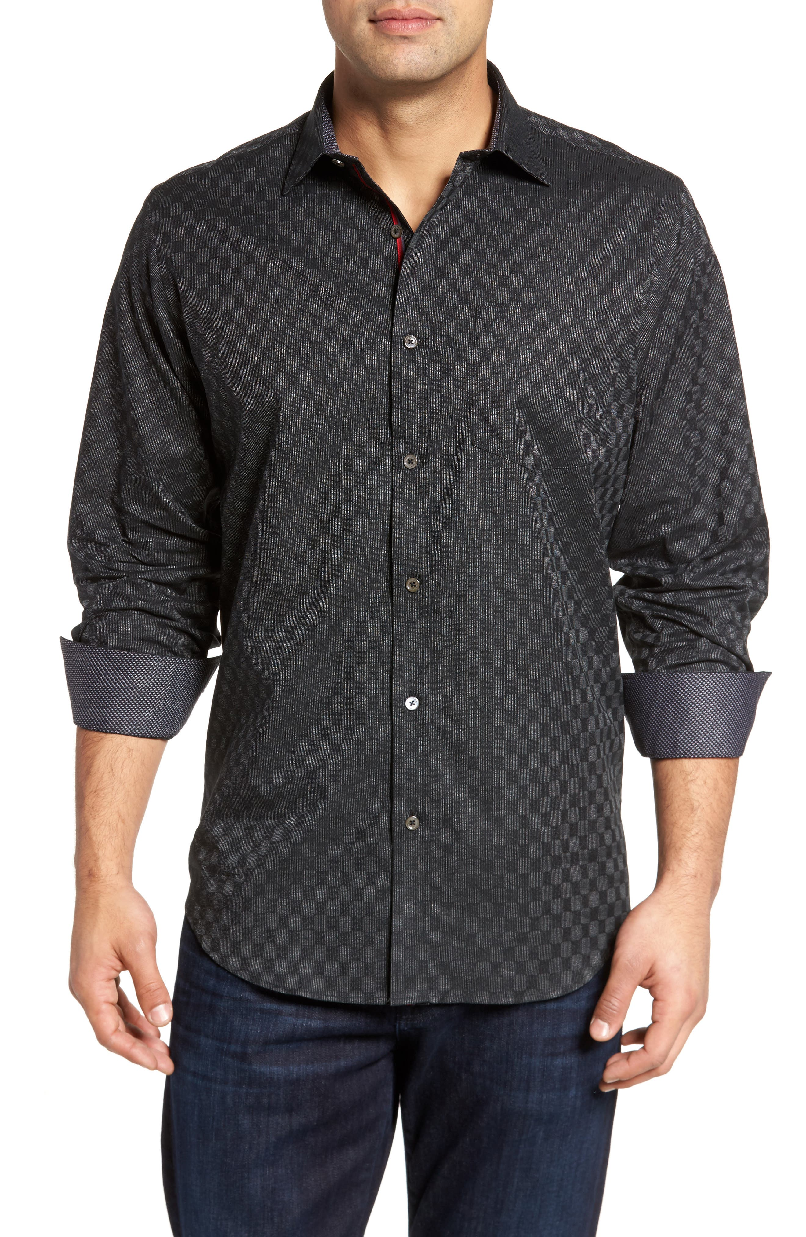 Classic Fit Abstract Dot Print Sport Shirt,                         Main,                         color, Black