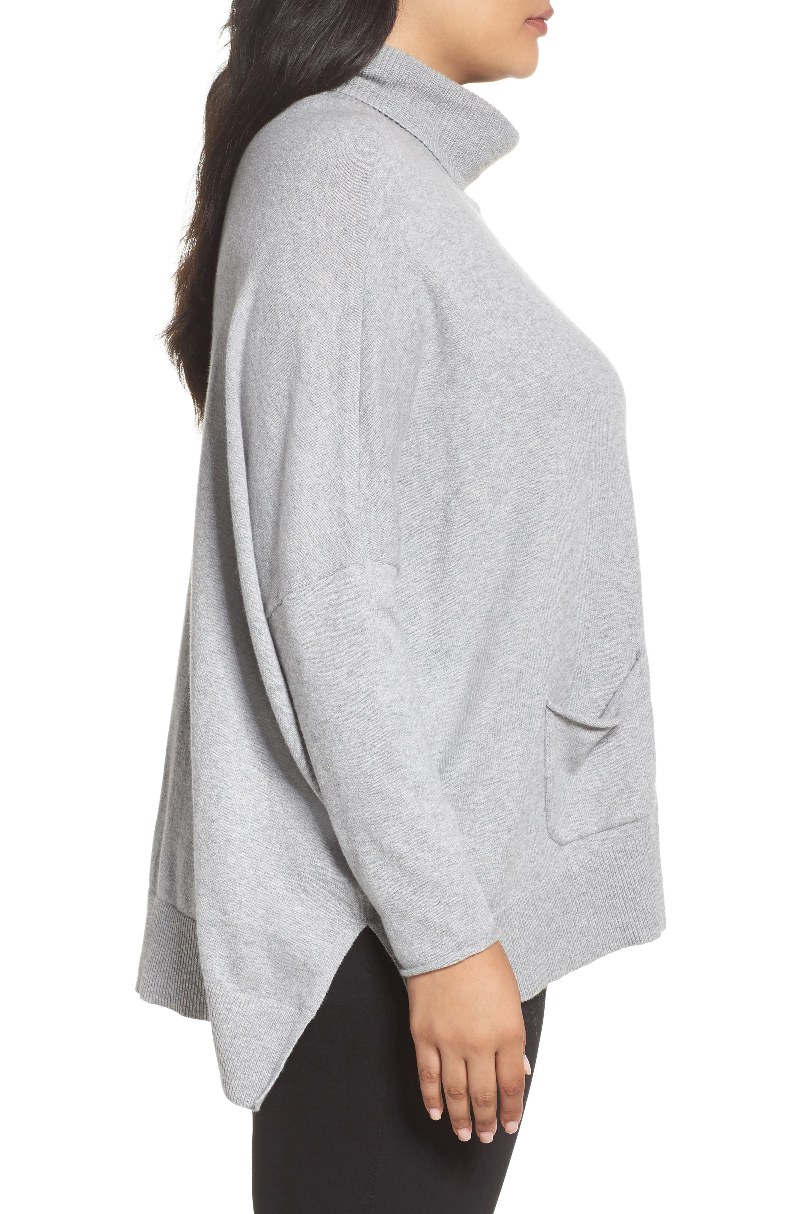 Relaxed Cotton & Cashmere Sweater,                             Alternate thumbnail 3, color,                             Grey Heather