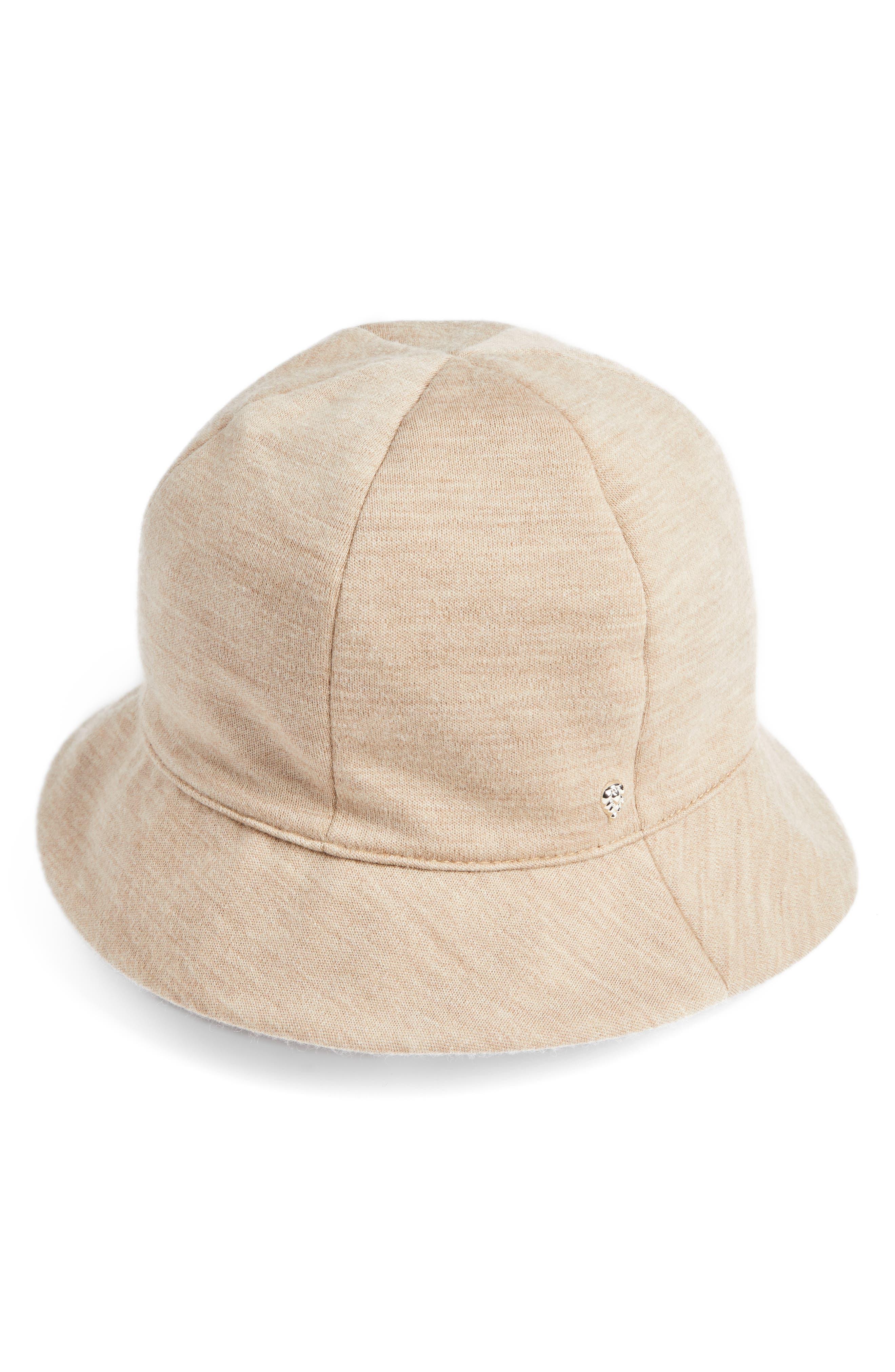 Merino Wool Jersey Bucket Hat,                             Main thumbnail 1, color,                             Camel Melange