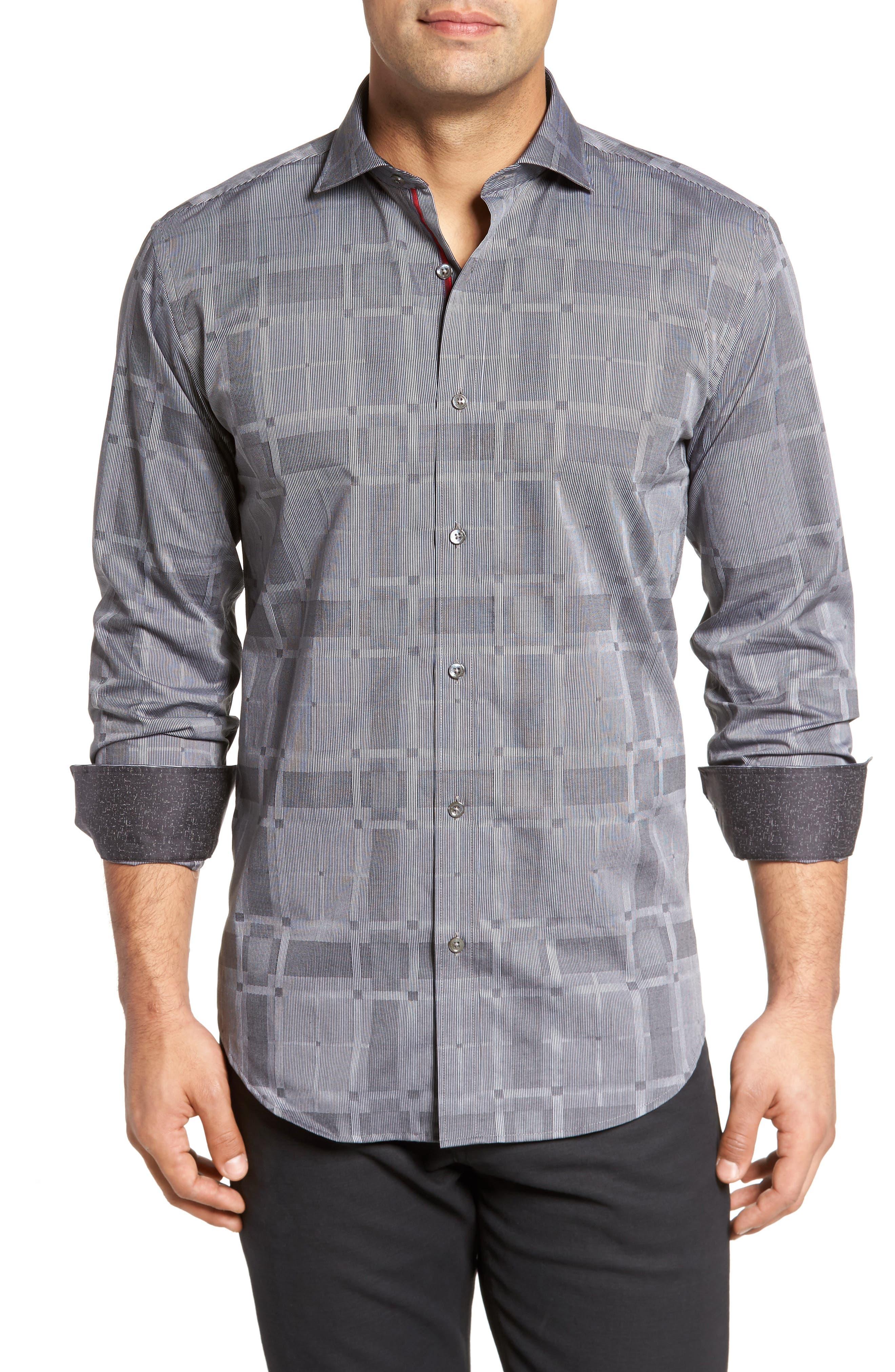 Slim Fit Microstripe Plaid Sport Shirt,                         Main,                         color, Graphite