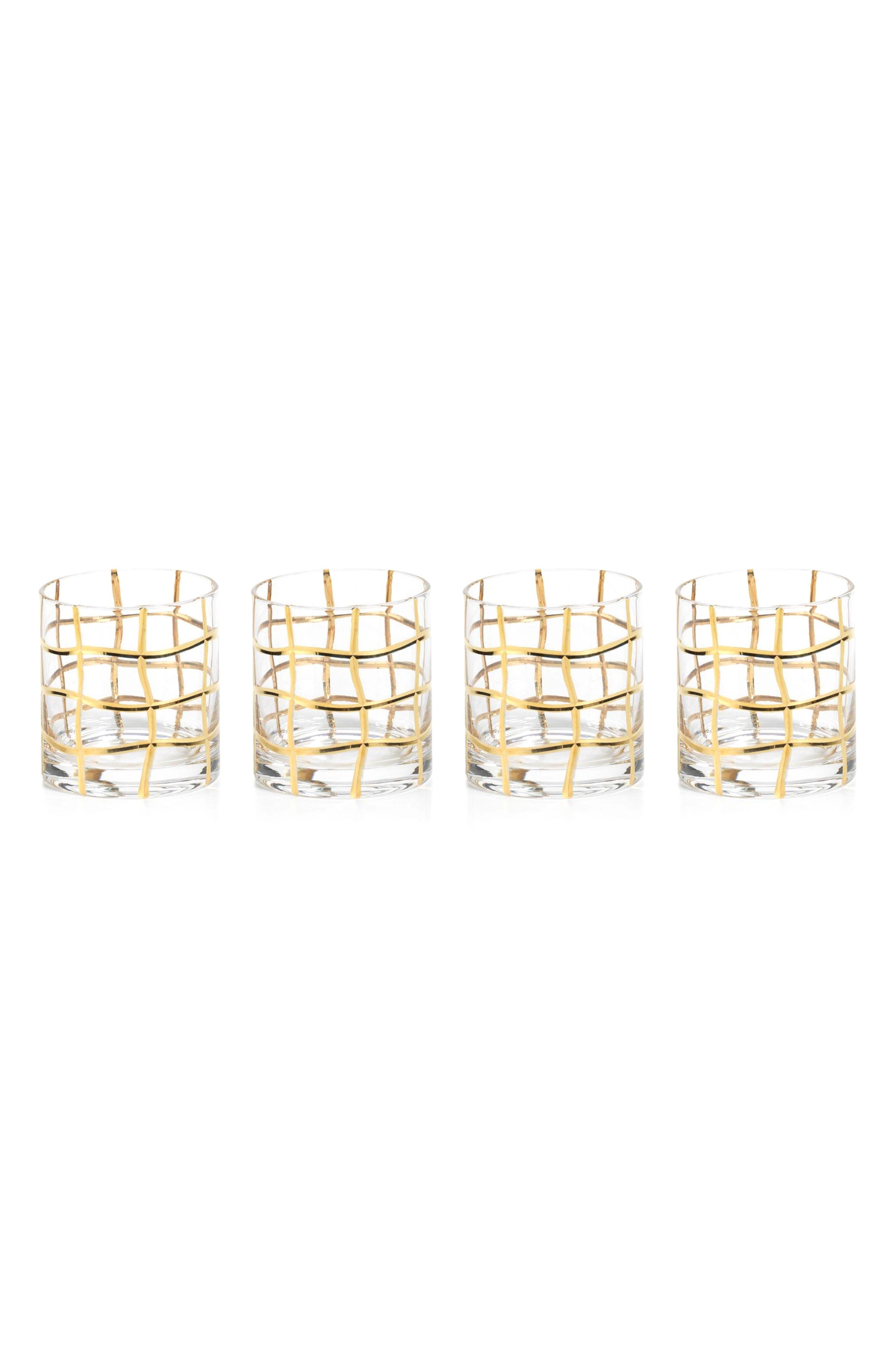 Groove Set of 4 Double Old Fashioned Glasses,                         Main,                         color, Clear/ Gold