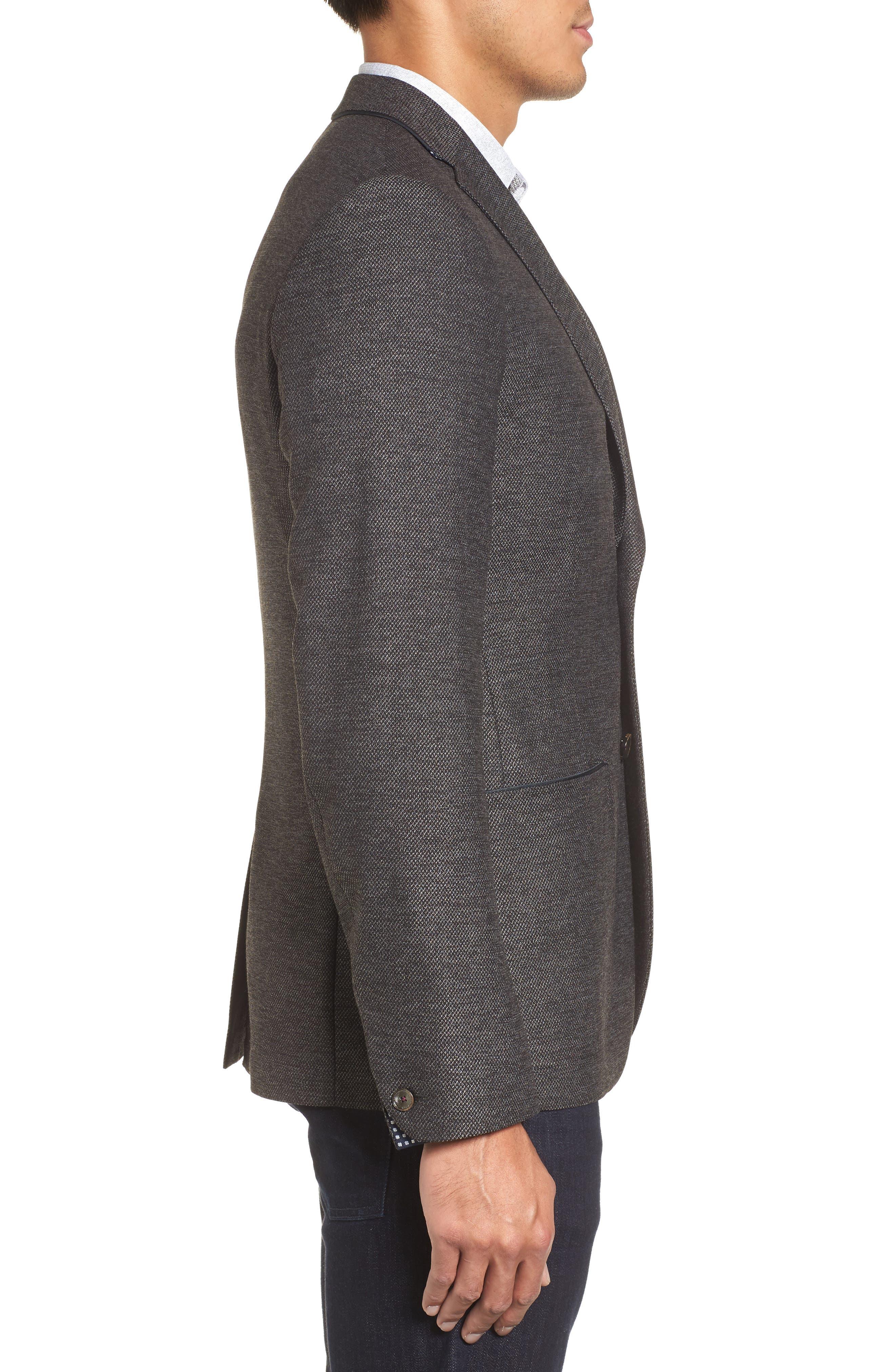 Port Slim Fit Jacket,                             Alternate thumbnail 3, color,                             Charcoal