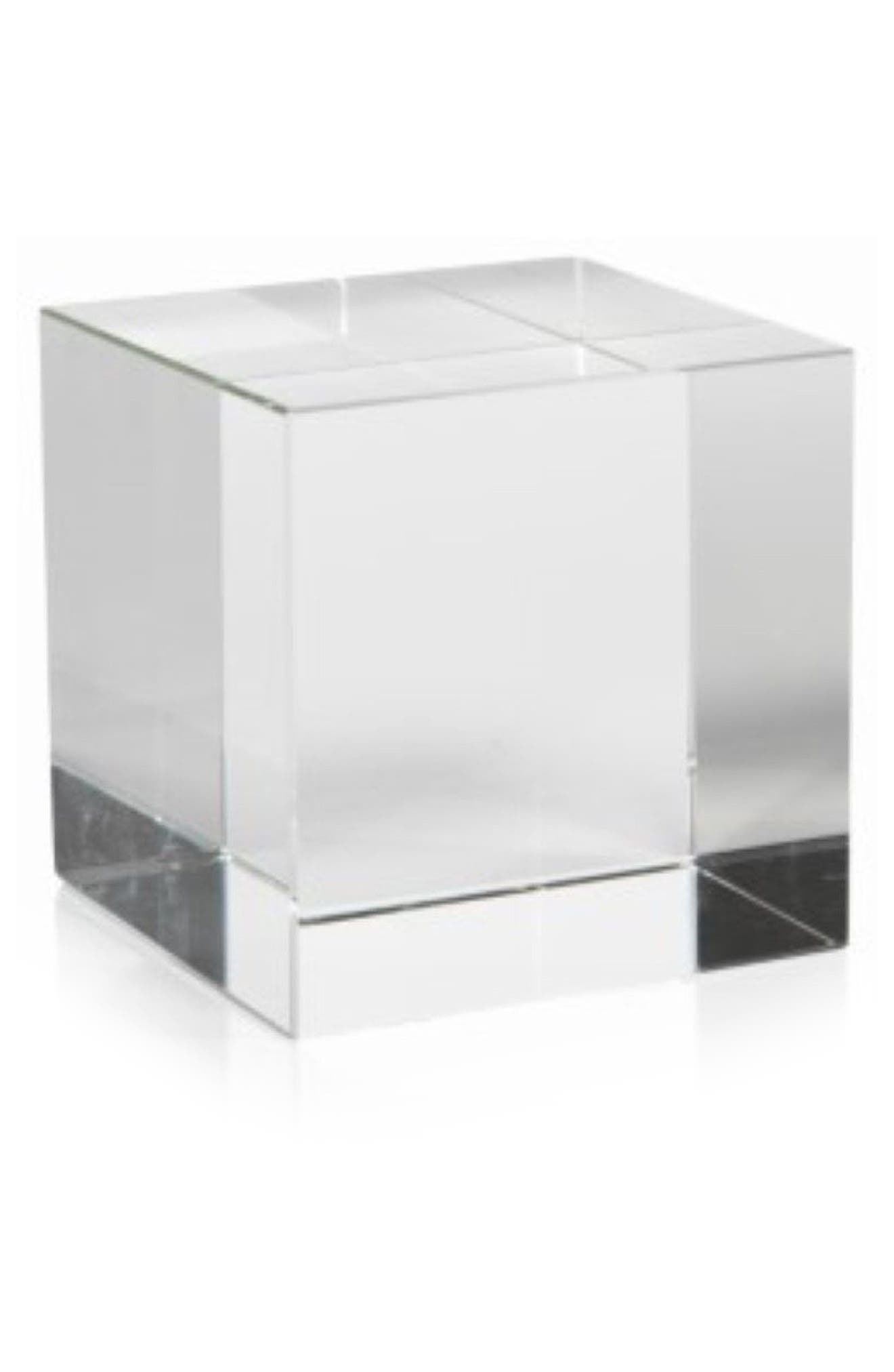 Jacy Glass Cube Decoration,                             Main thumbnail 1, color,                             Clear