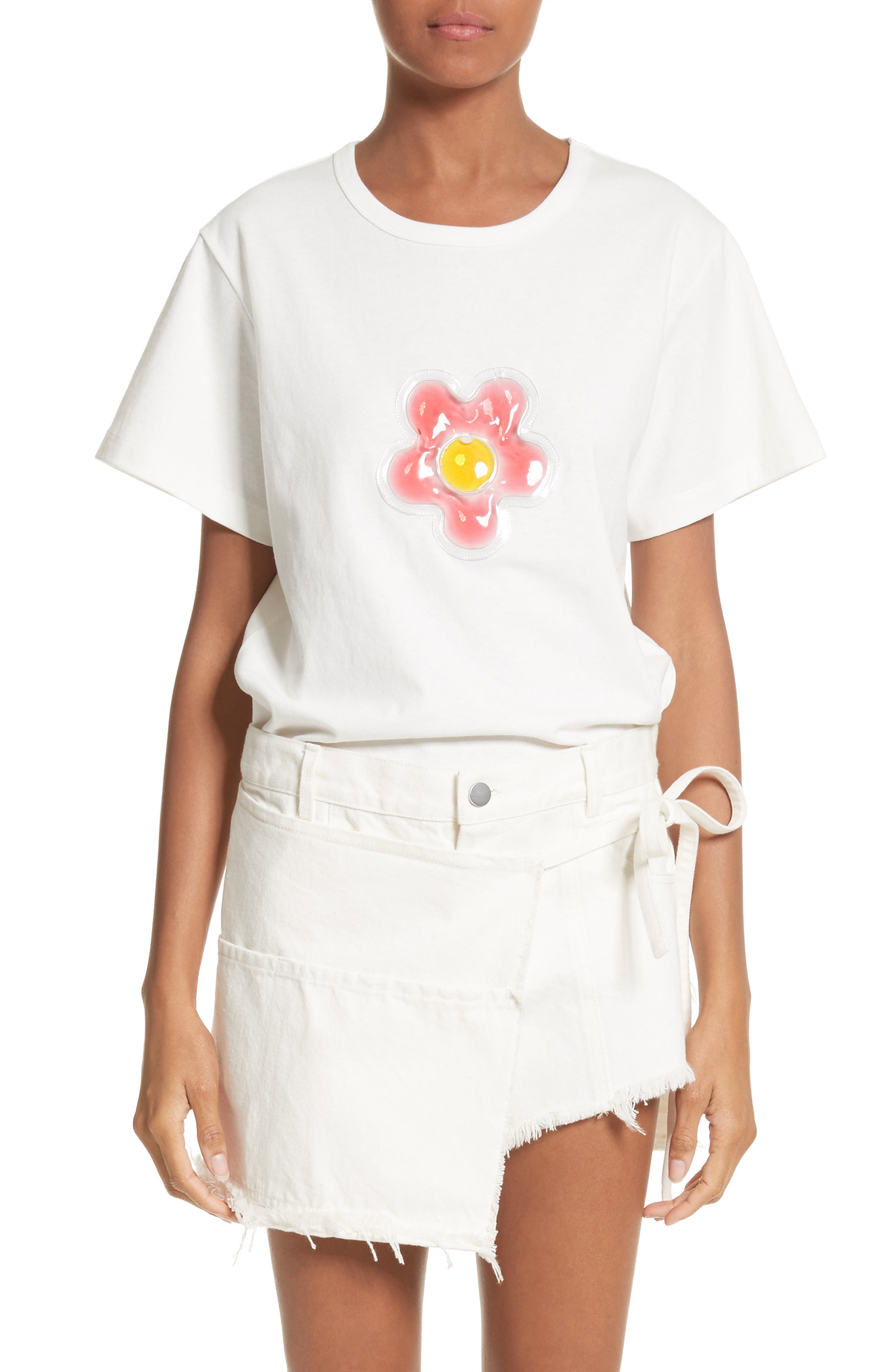 Colby Flower Tee,                         Main,                         color, White