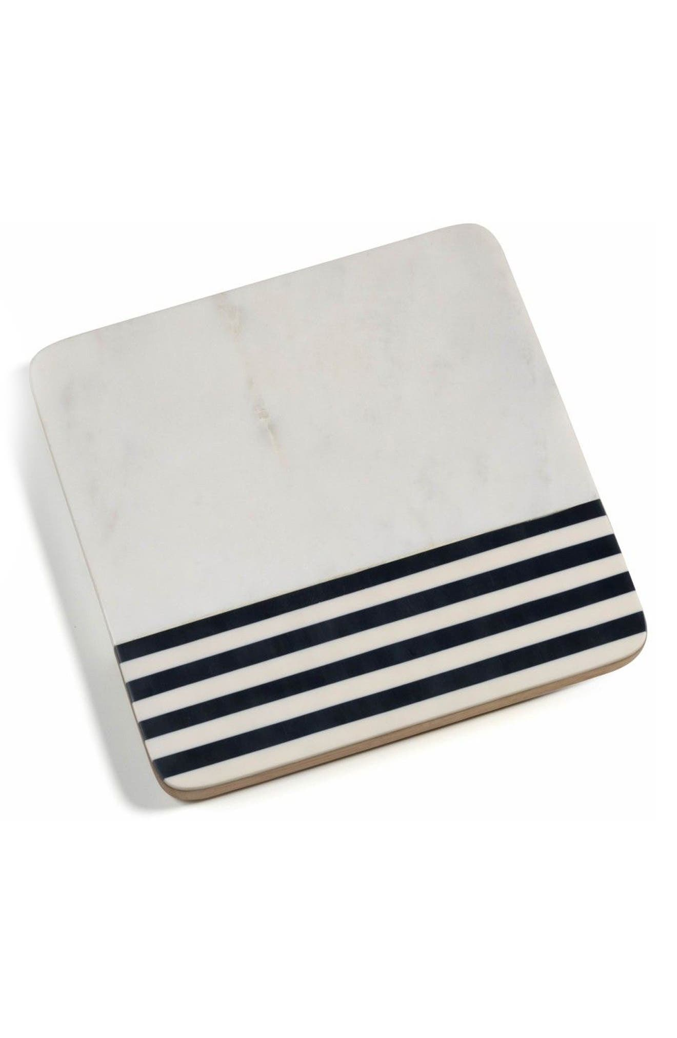 Marine Marble & Wood Cheese Board,                         Main,                         color, White/ Black