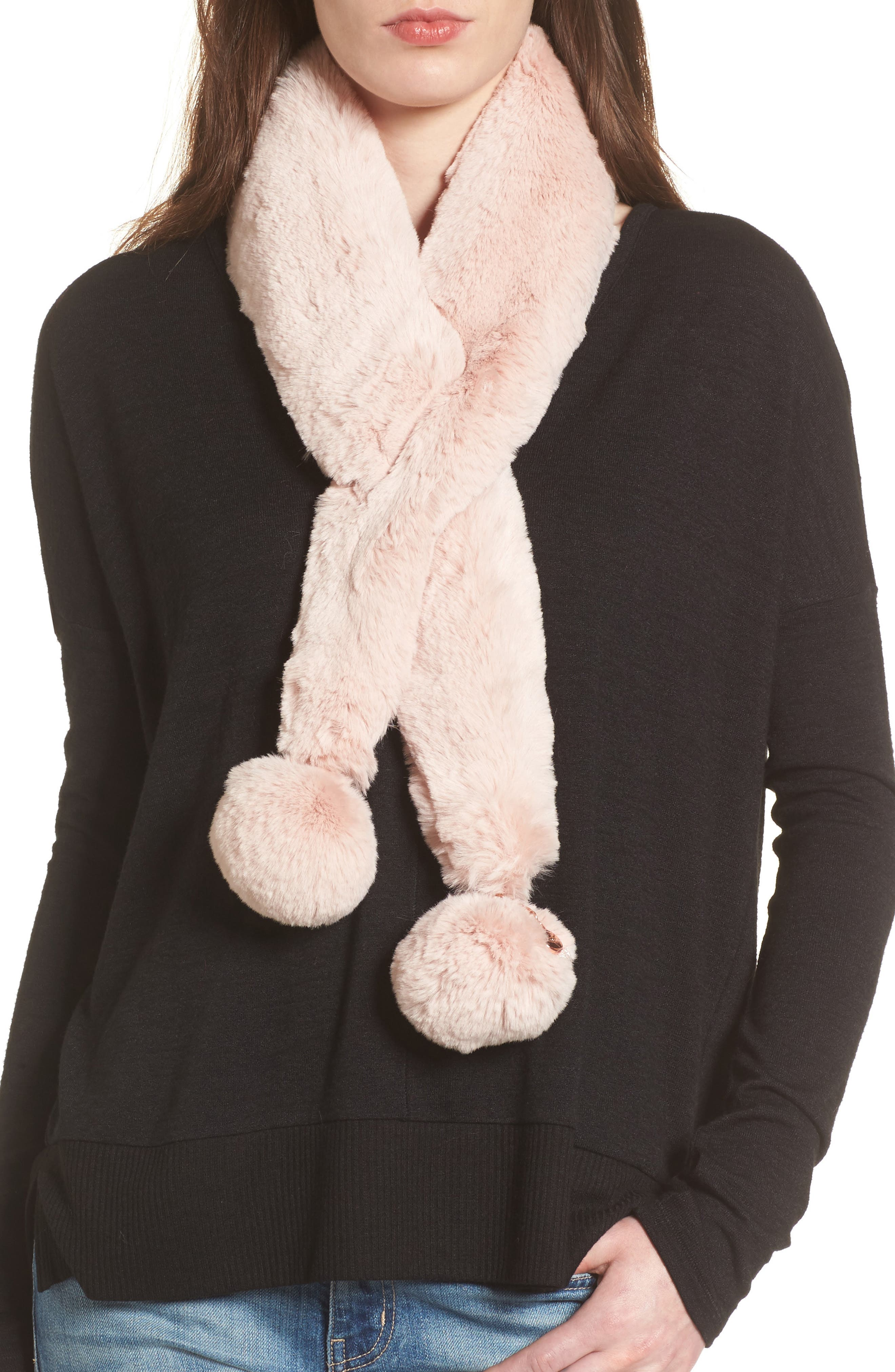 Ted Baker London Pompom Faux Fur Scarf