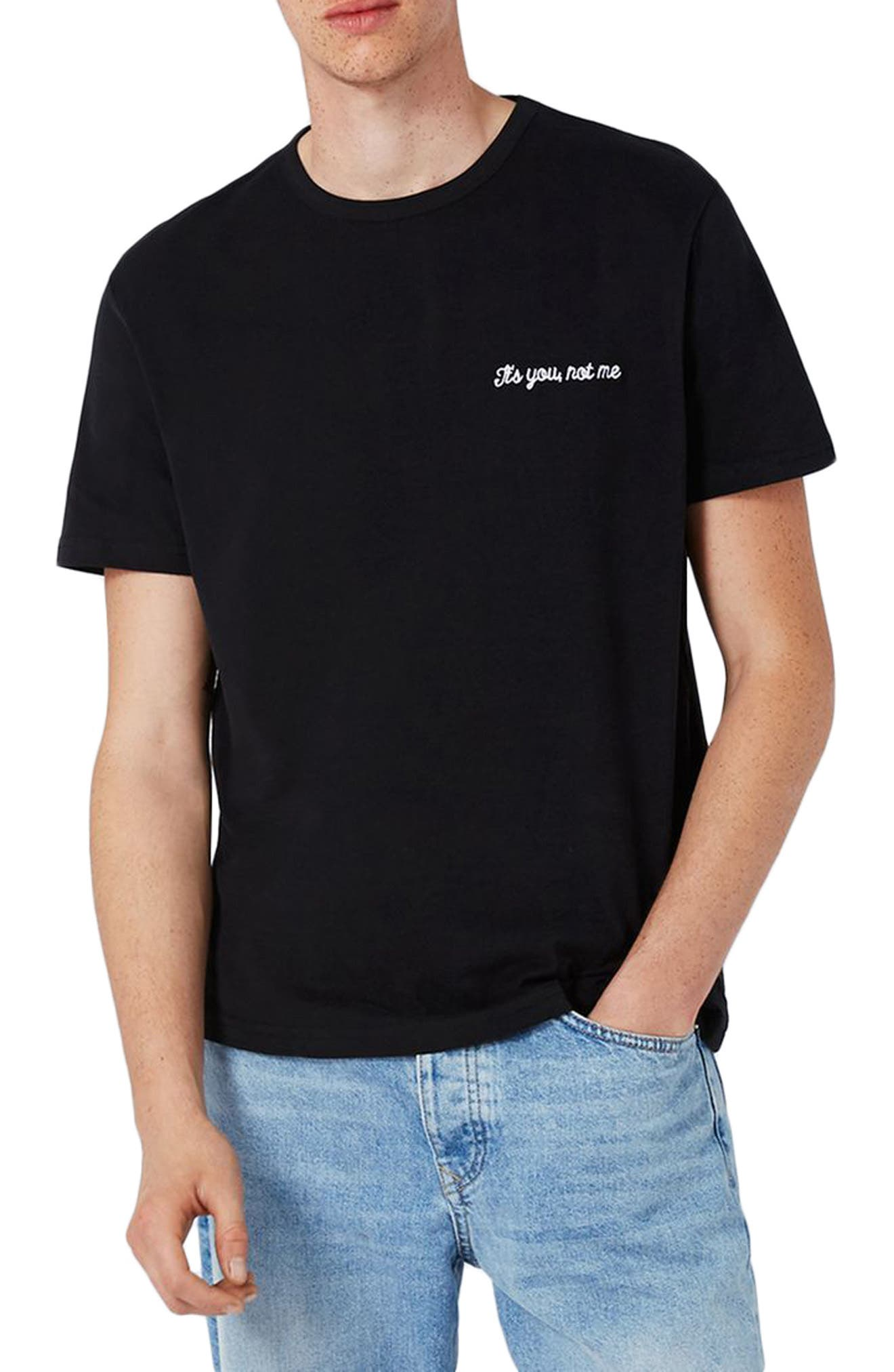 Not Me Embroidery T-Shirt,                         Main,                         color, Black