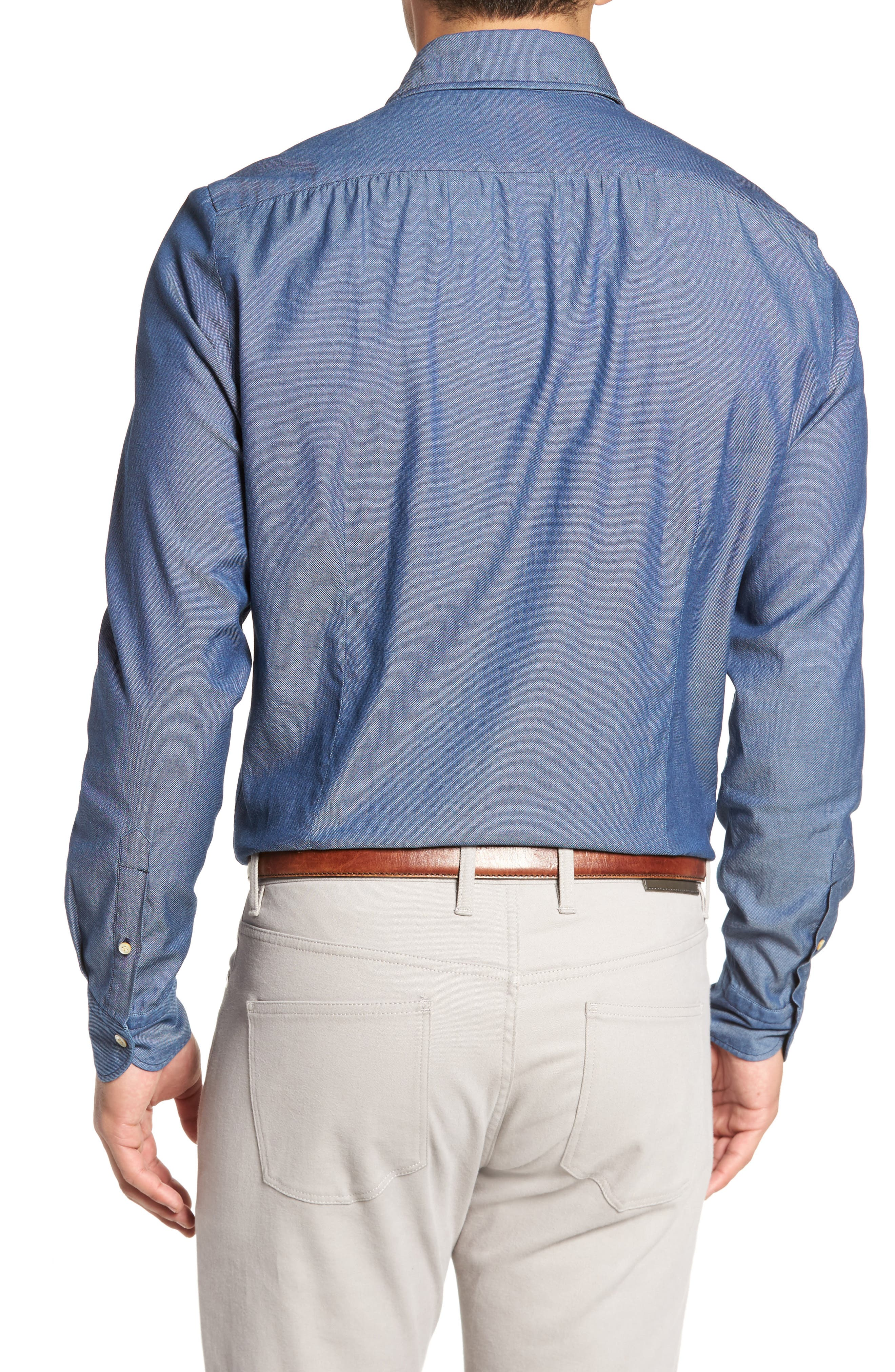 Classic Fit Bird's Eye Sport Shirt,                             Alternate thumbnail 2, color,                             Navy