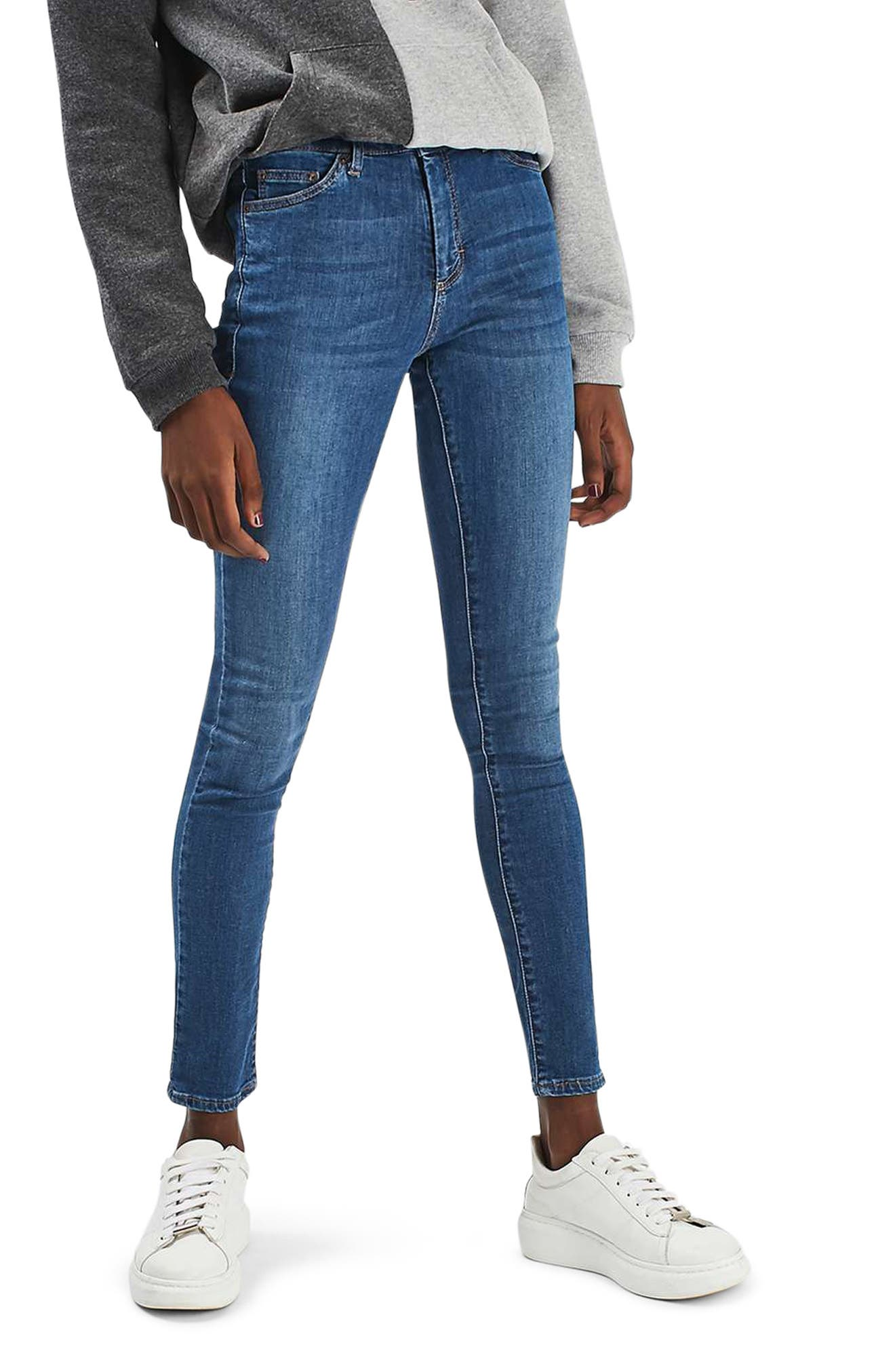 Leigh Skinny Jeans,                         Main,                         color, Mid Denim