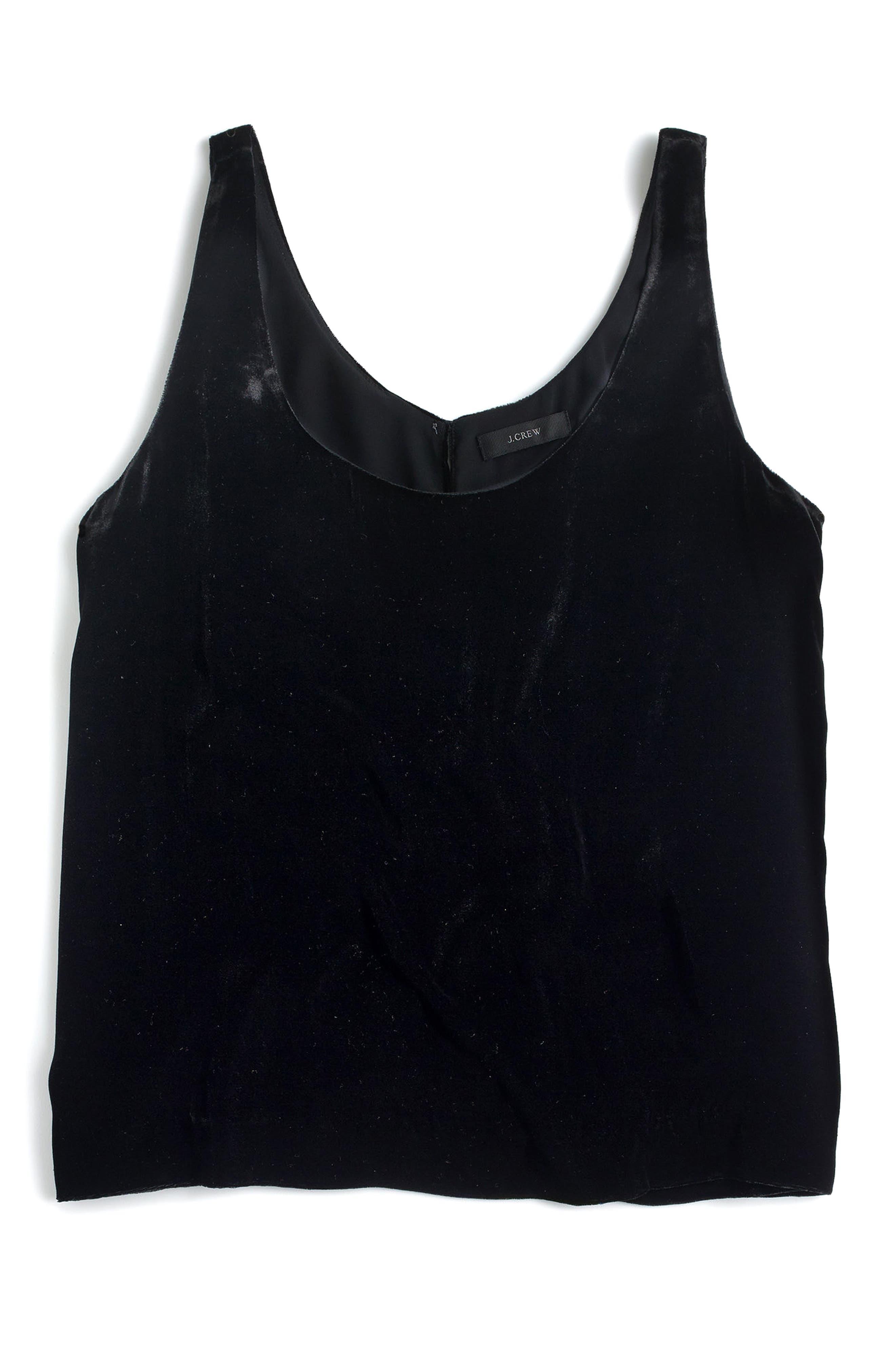 Riff Velvet Tank Top,                         Main,                         color, Black