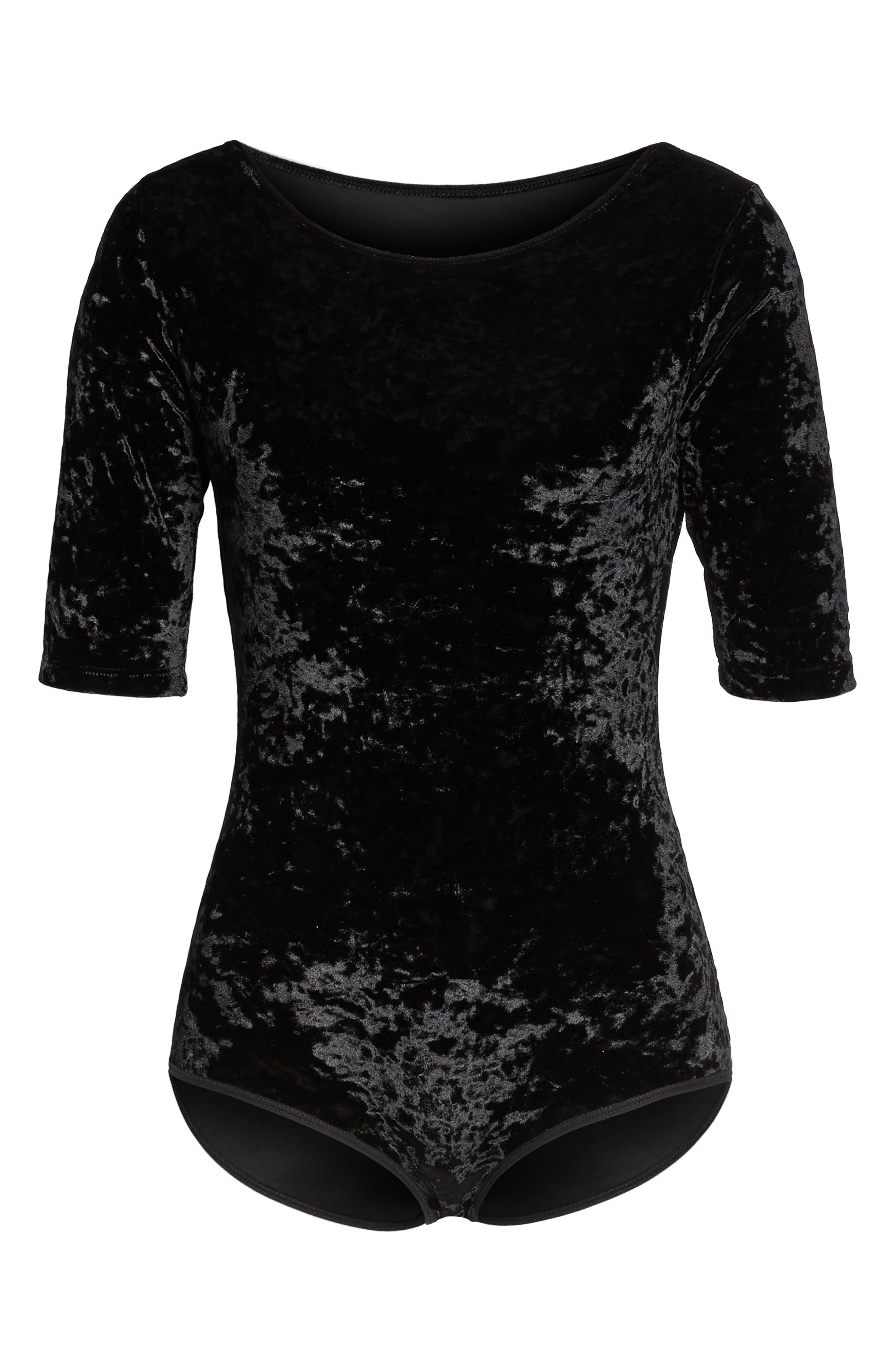 Panne Velvet Bodysuit,                             Alternate thumbnail 4, color,                             Black