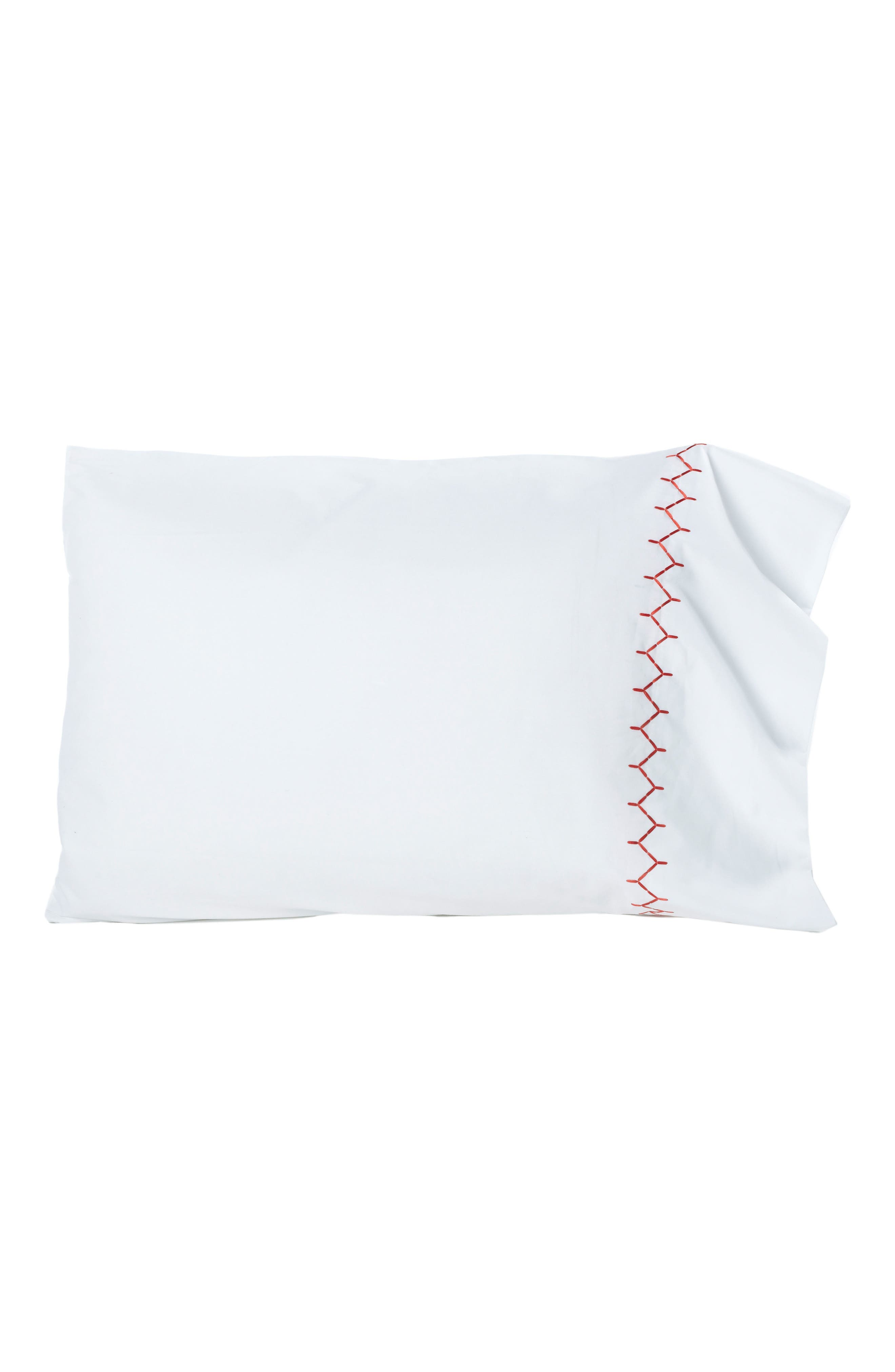 Stitched Border 300 Thread Count Pillowcases,                         Main,                         color, Coral/ White
