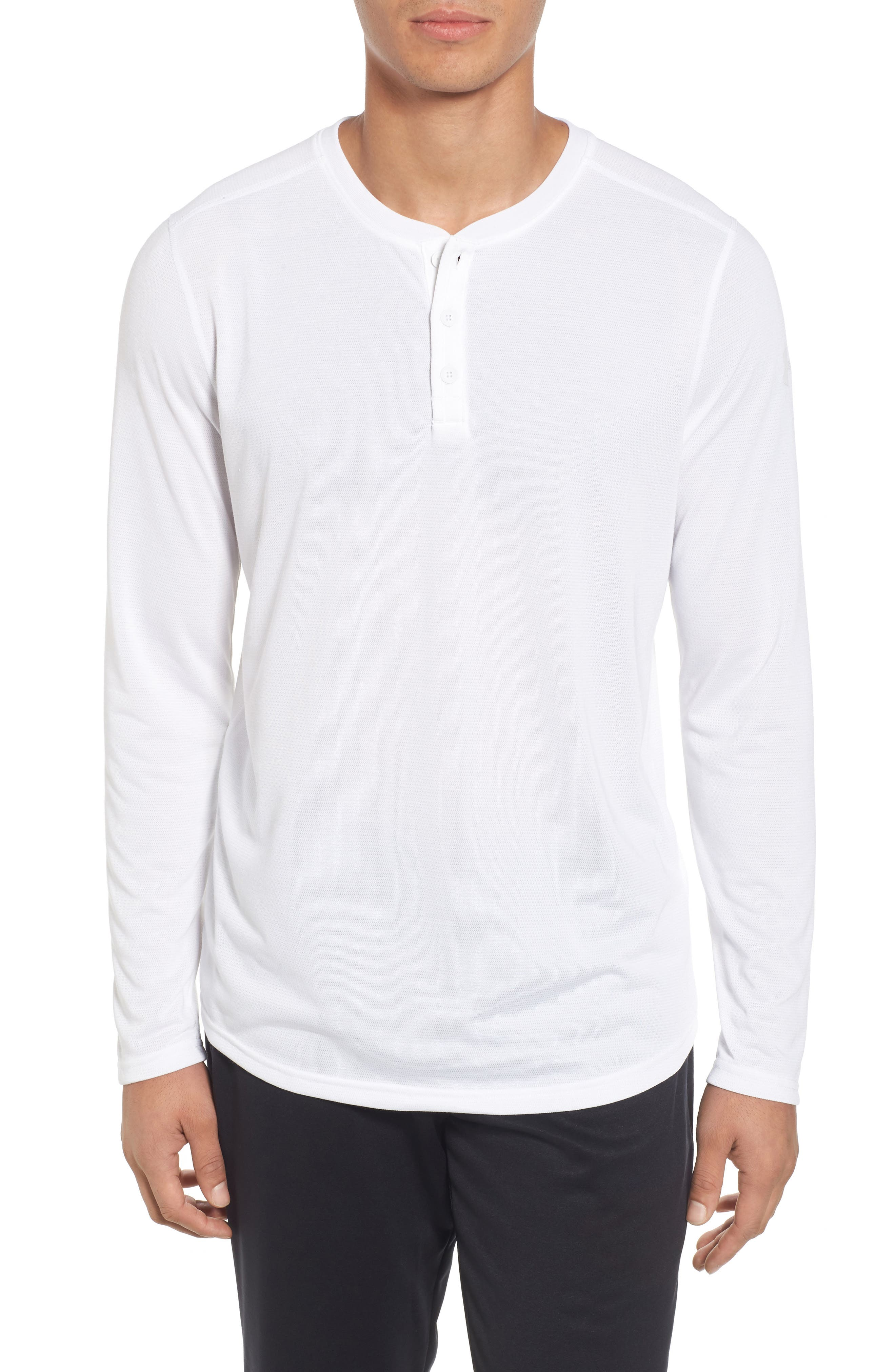 Threadborne<sup>™</sup> Long Sleeve Henley,                         Main,                         color, White / White