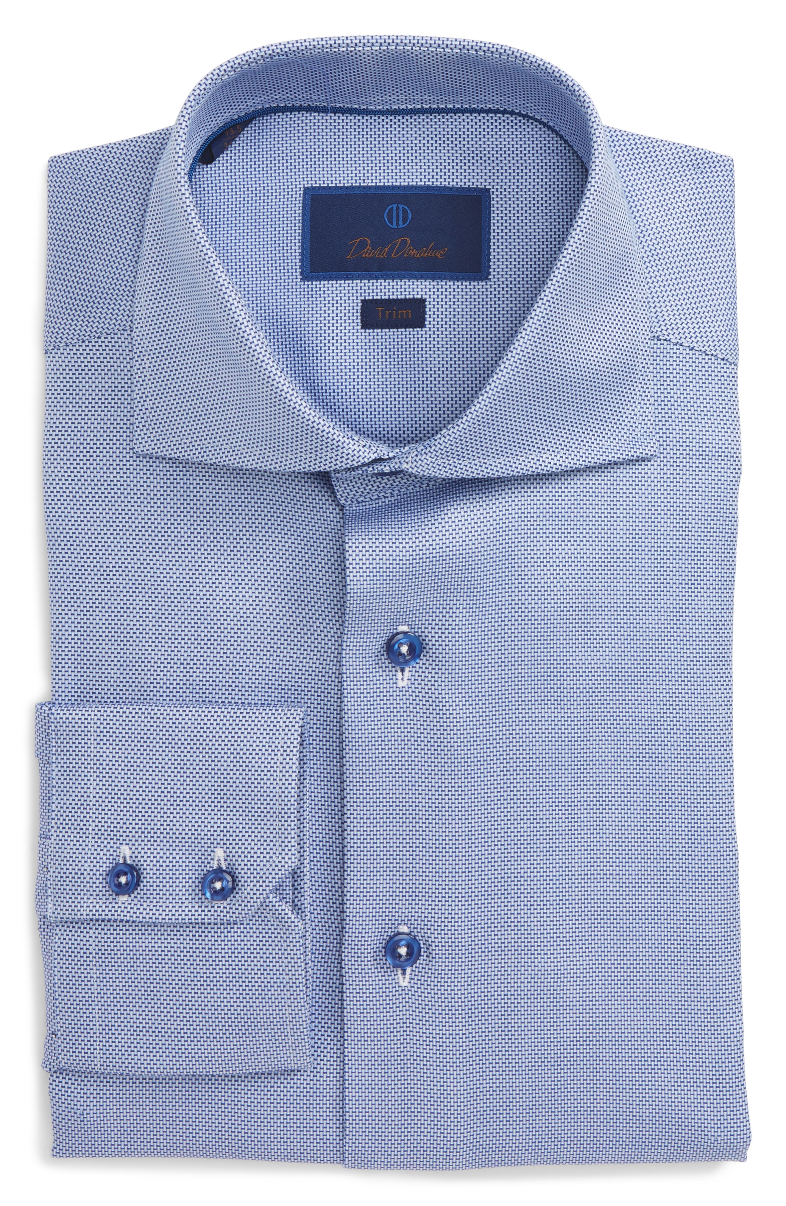 Main Image - David Donahue Trim Fit Solid Dress Shirt