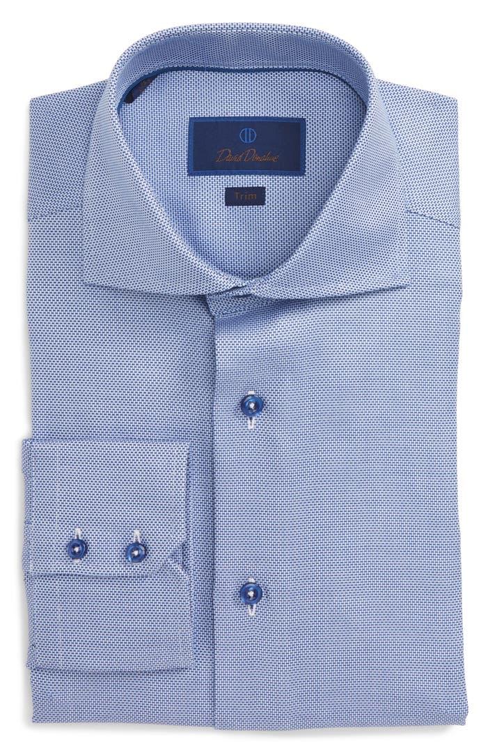 David Donahue Trim Fit Solid Dress Shirt Nordstrom