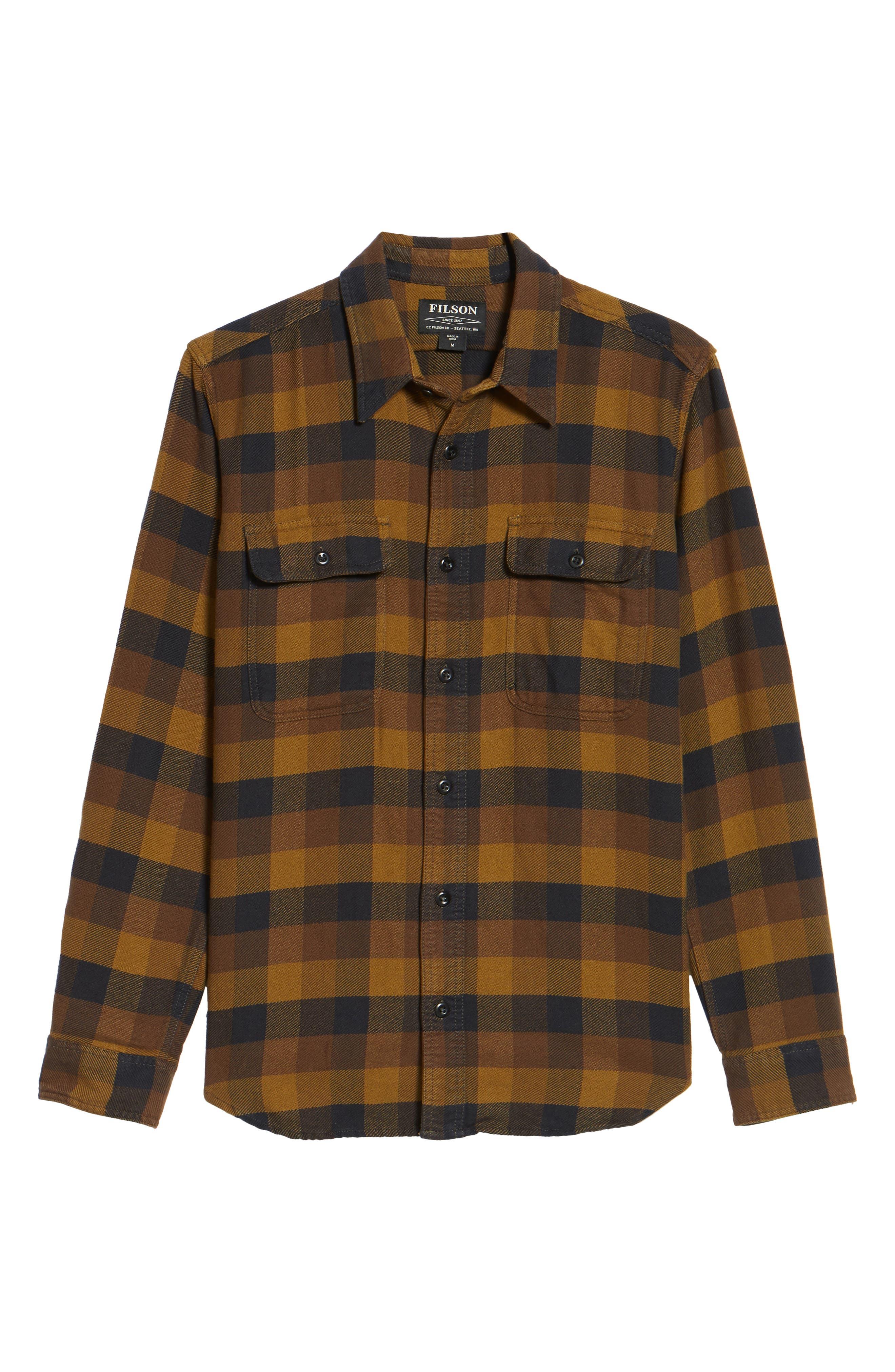 'Vintage Flannel' Regular Fit Plaid Cotton Shirt,                             Alternate thumbnail 6, color,                             Brown/ Navy