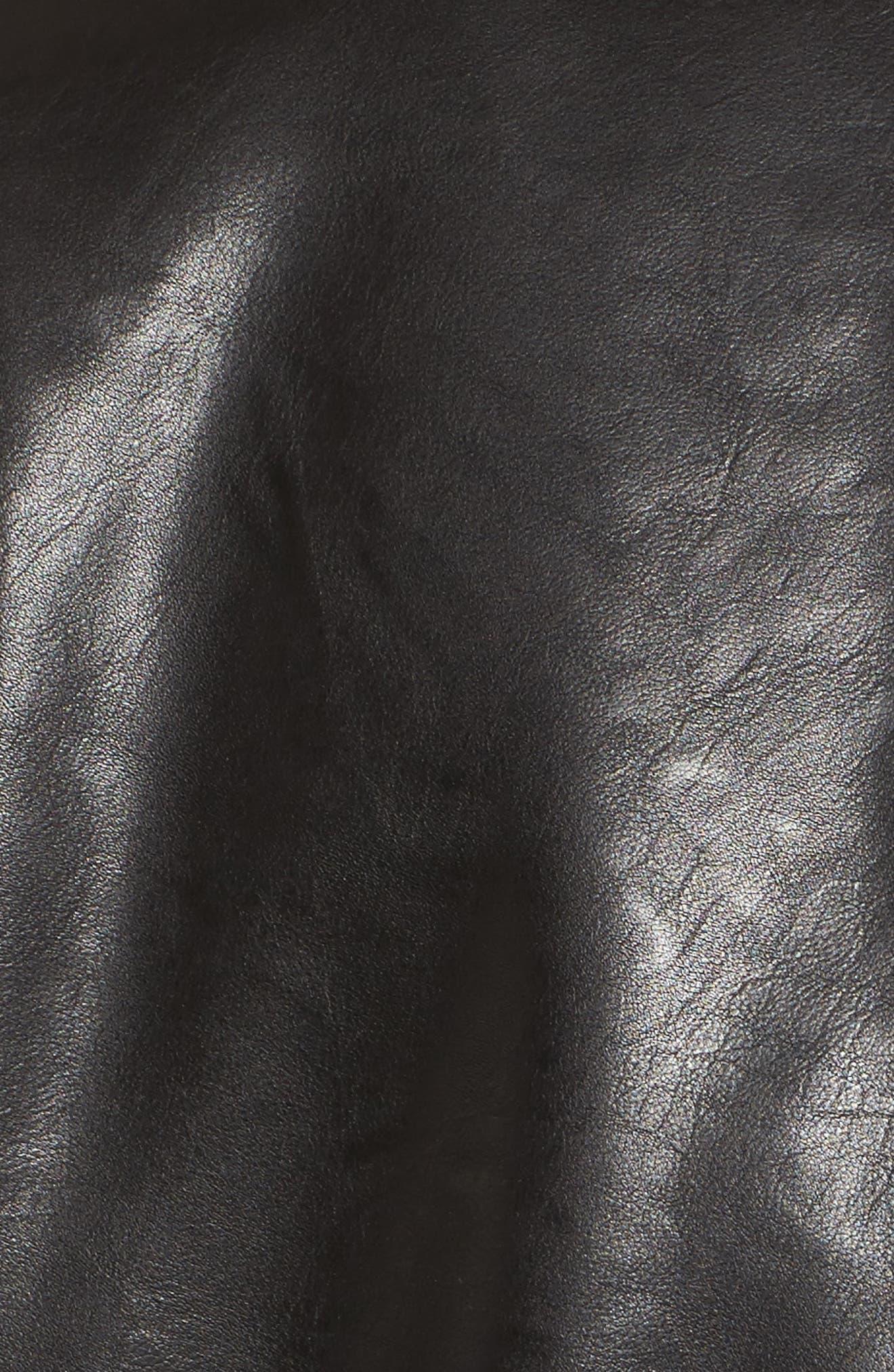 Faux Leather Moto Jacket,                             Alternate thumbnail 5, color,                             Black