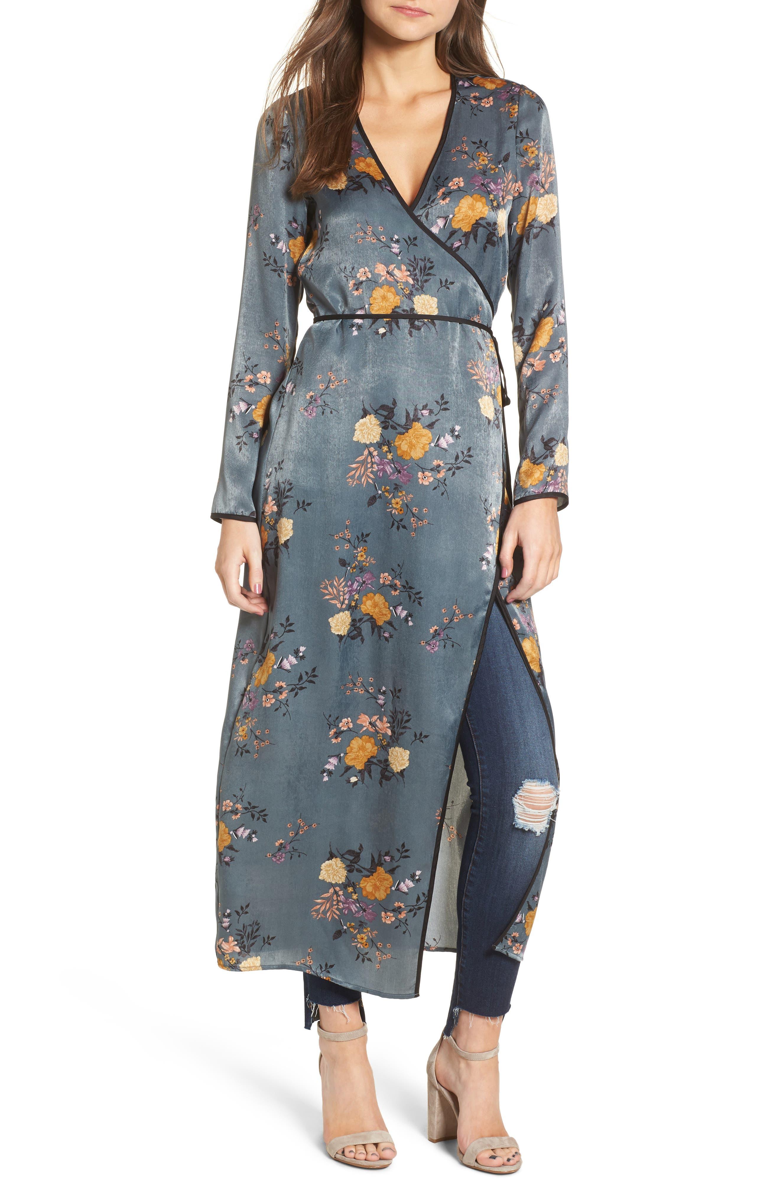 Satin Wrap Kimono,                             Main thumbnail 1, color,                             Storm Blue Print