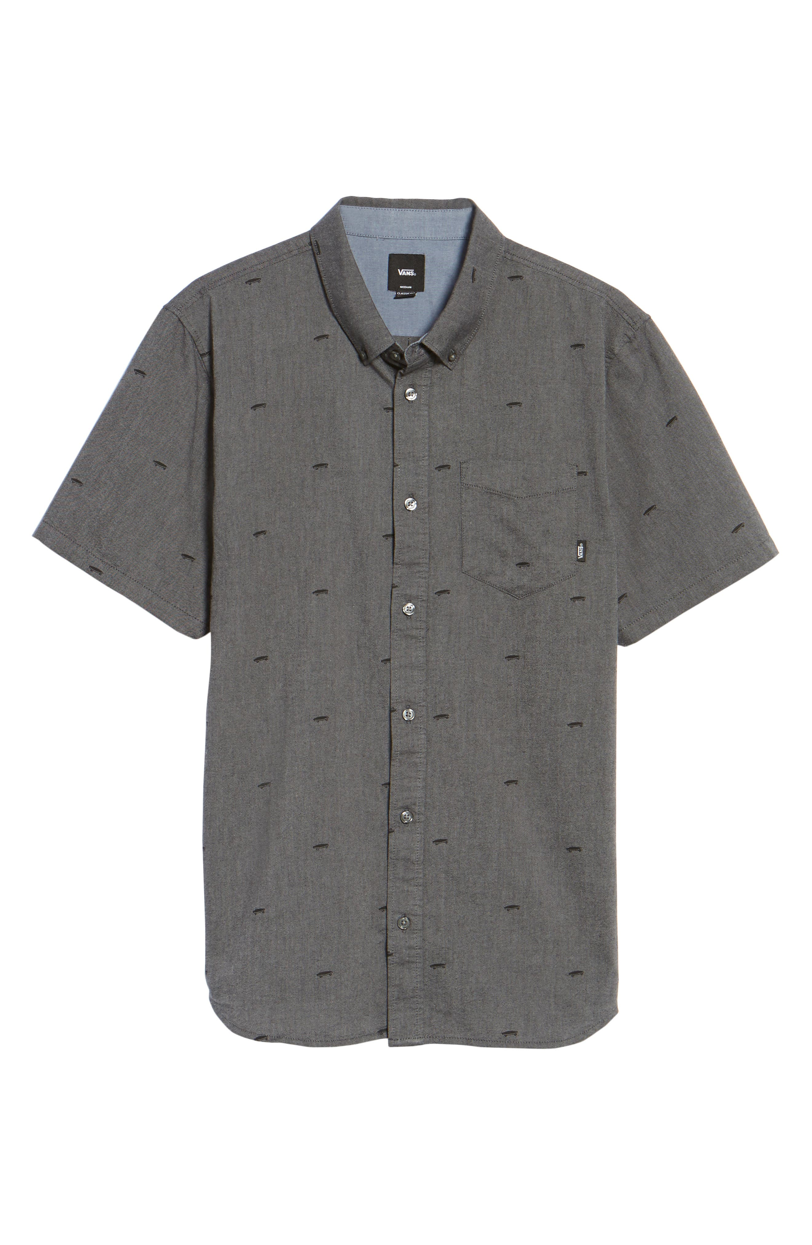 Houser Woven Shirt,                             Alternate thumbnail 6, color,                             Black Salton Ditsy
