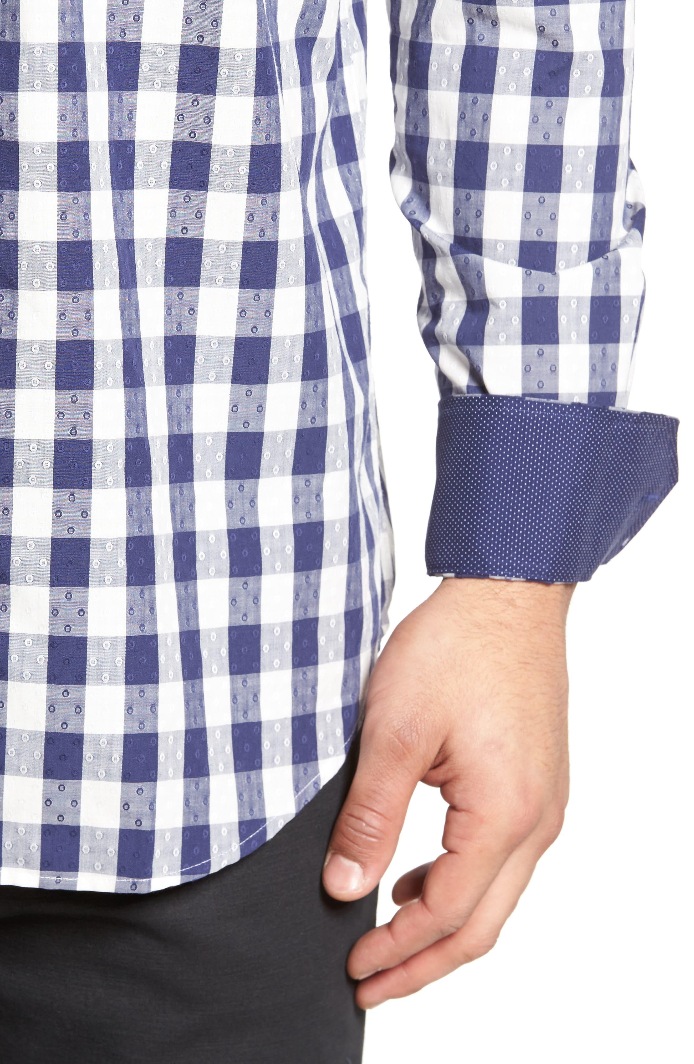 Classic Fit Dobby Gingham Sport Shirt,                             Alternate thumbnail 4, color,                             Navy