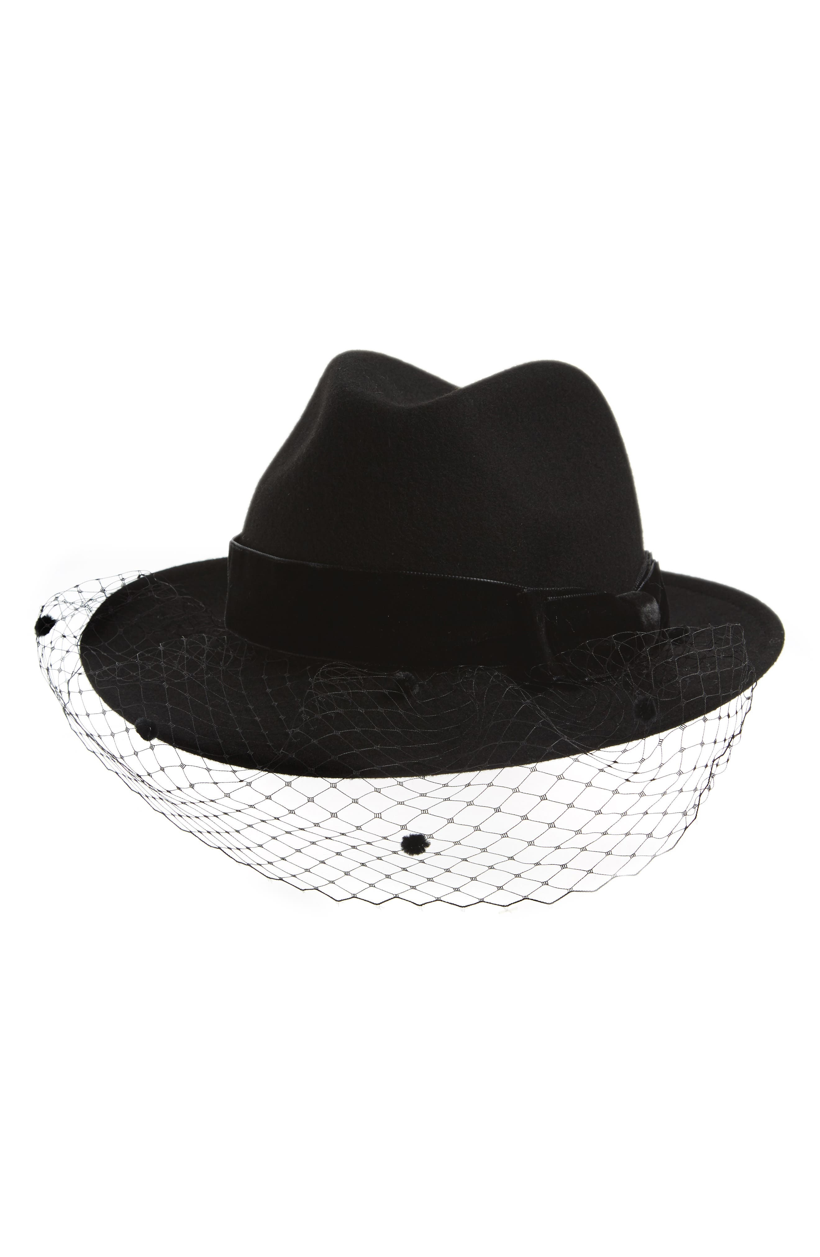 Wool Trilby with Veil,                             Main thumbnail 1, color,                             Nero