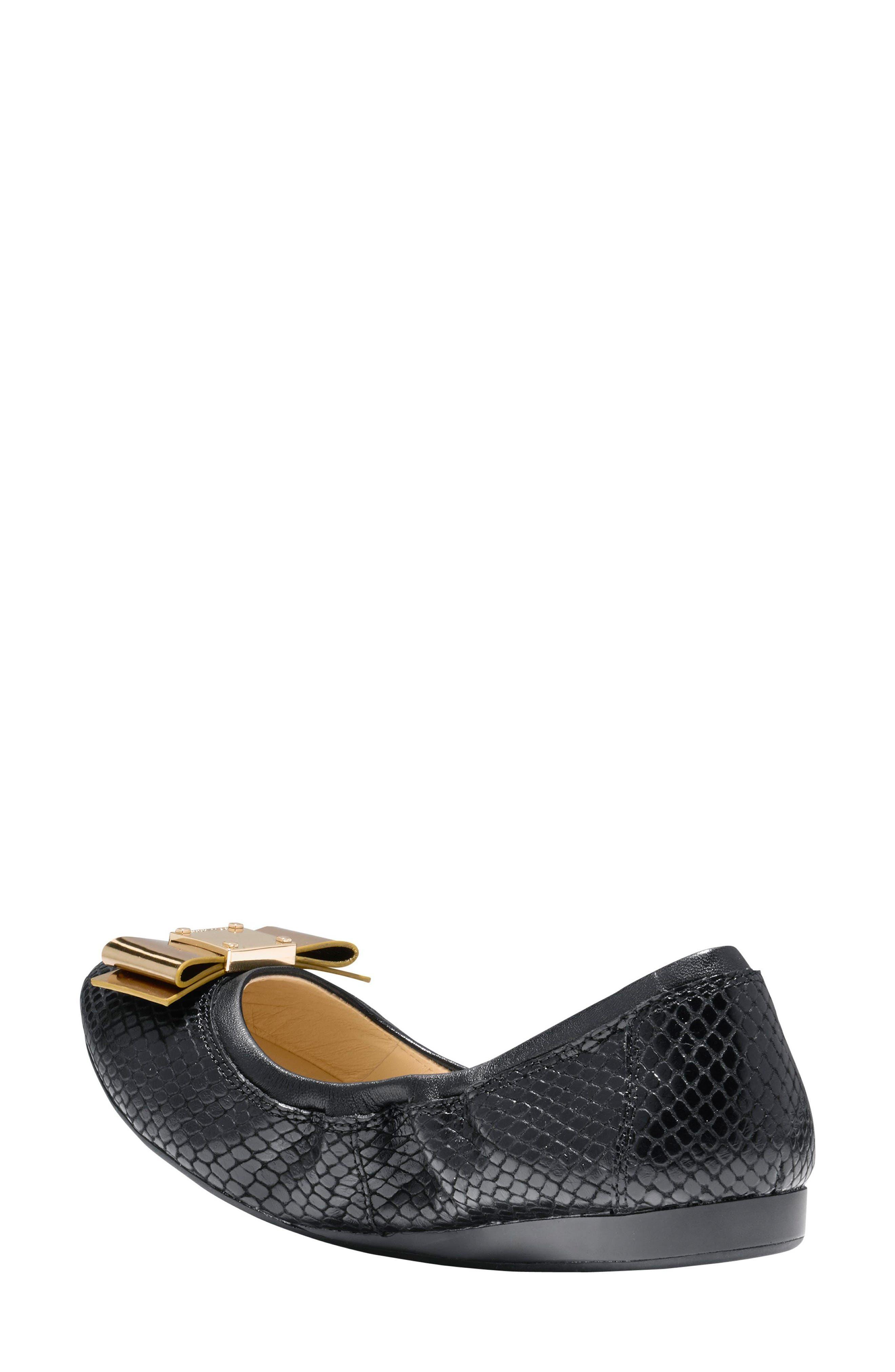 'Tali' Bow Ballet Flat,                             Alternate thumbnail 2, color,                             Black Snake Print Leather