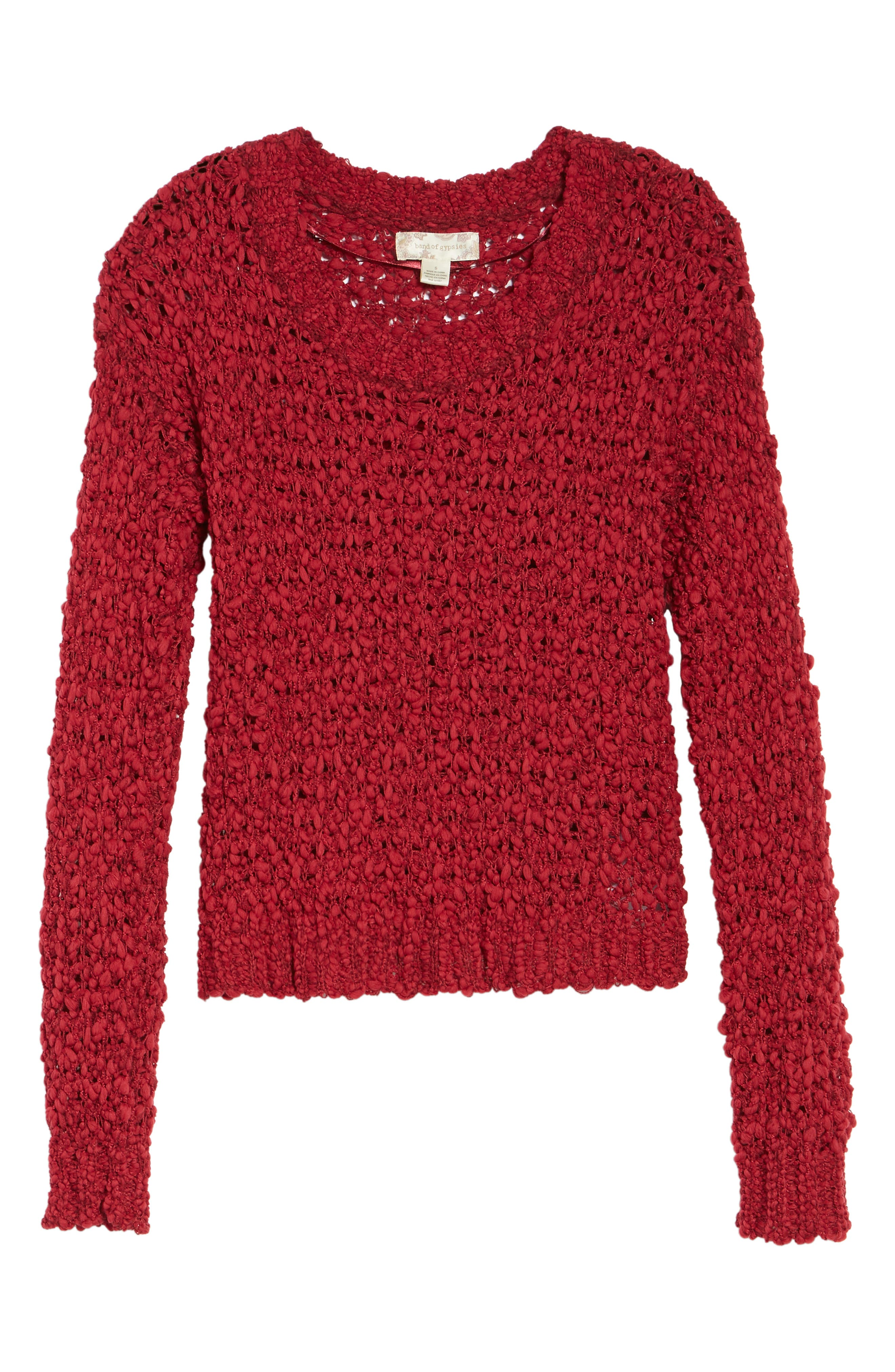 Knit Sweater,                             Alternate thumbnail 5, color,                             Rouge