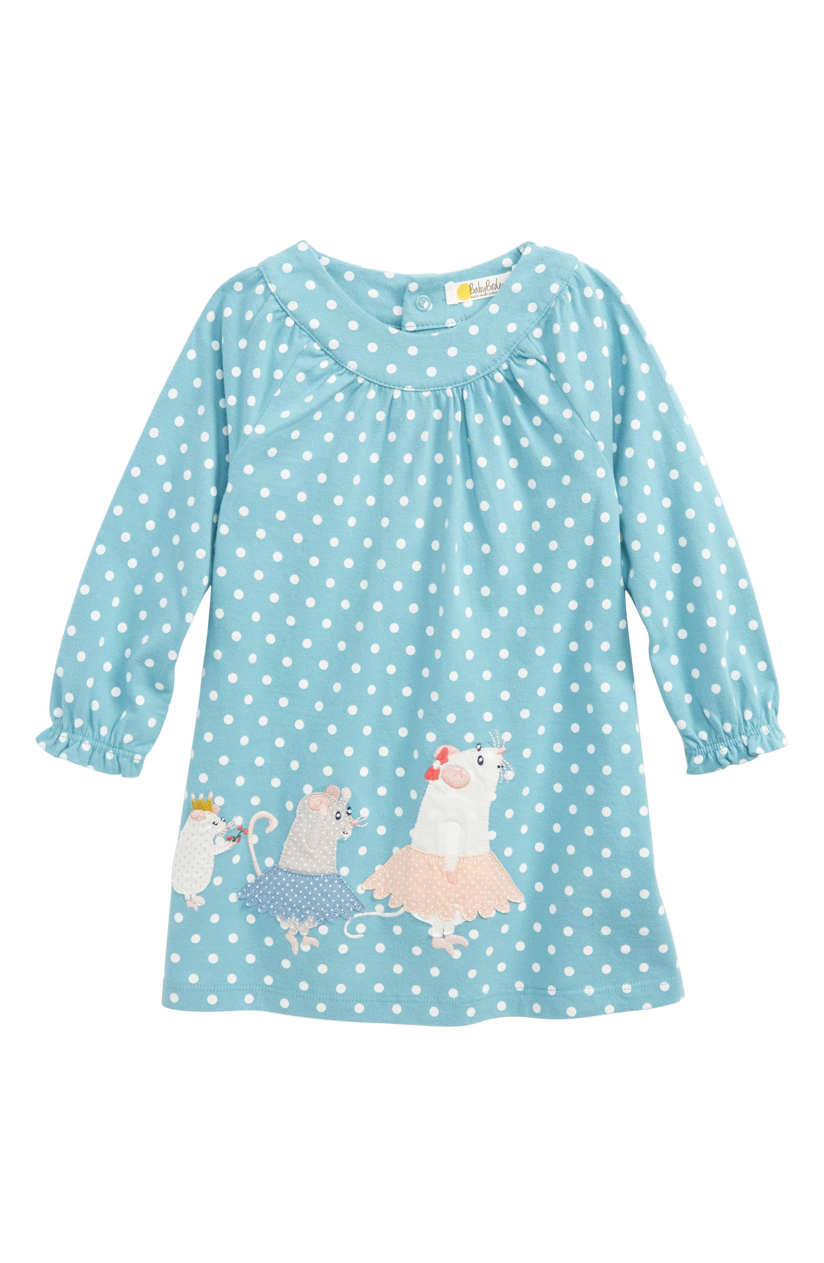 Mini Boden Winter Animals Appliqué Dress (Baby Girls & Toddler Girls)
