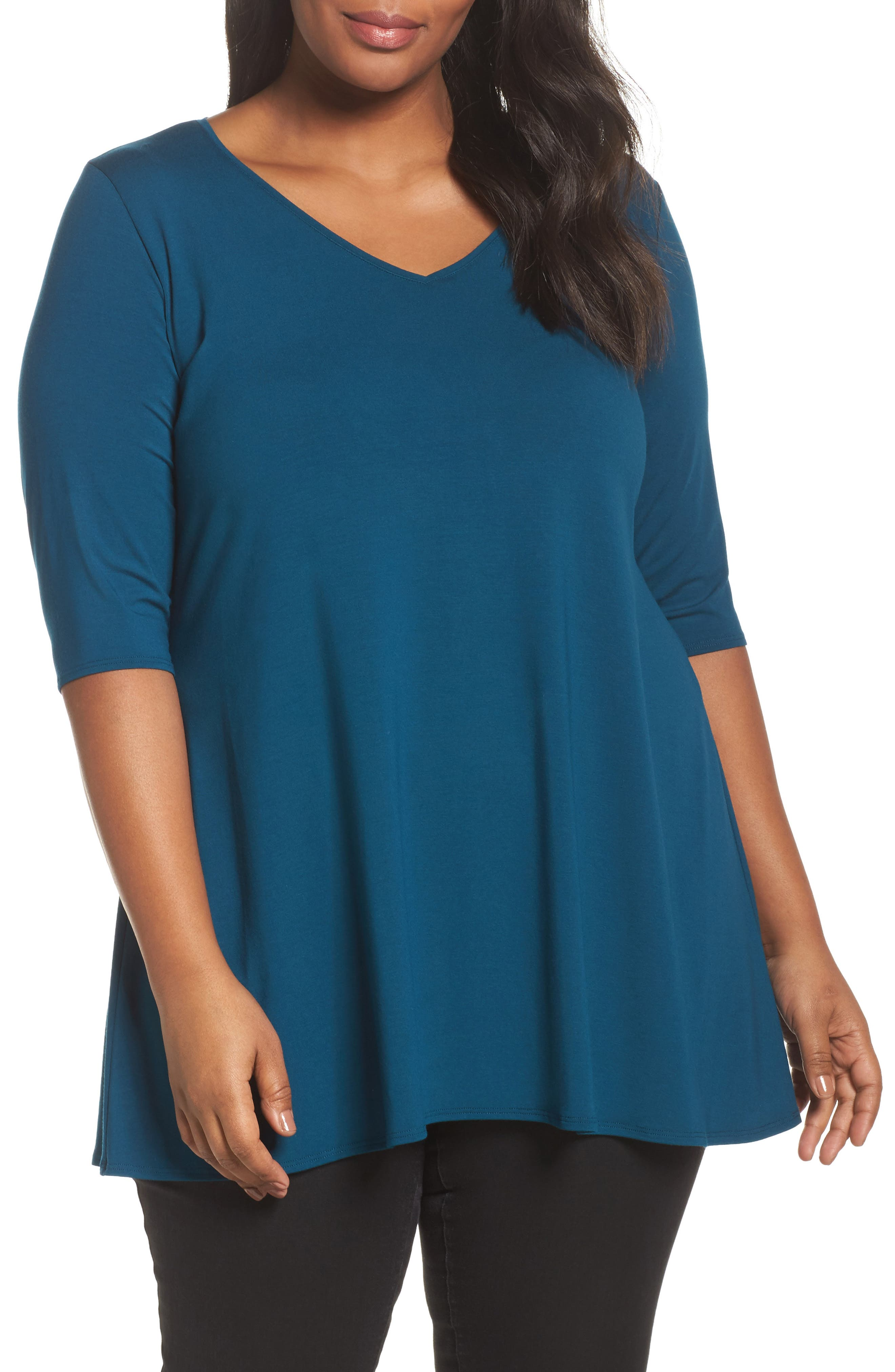 Eileen Fisher V-Neck Jersey Tunic (Plus Size)