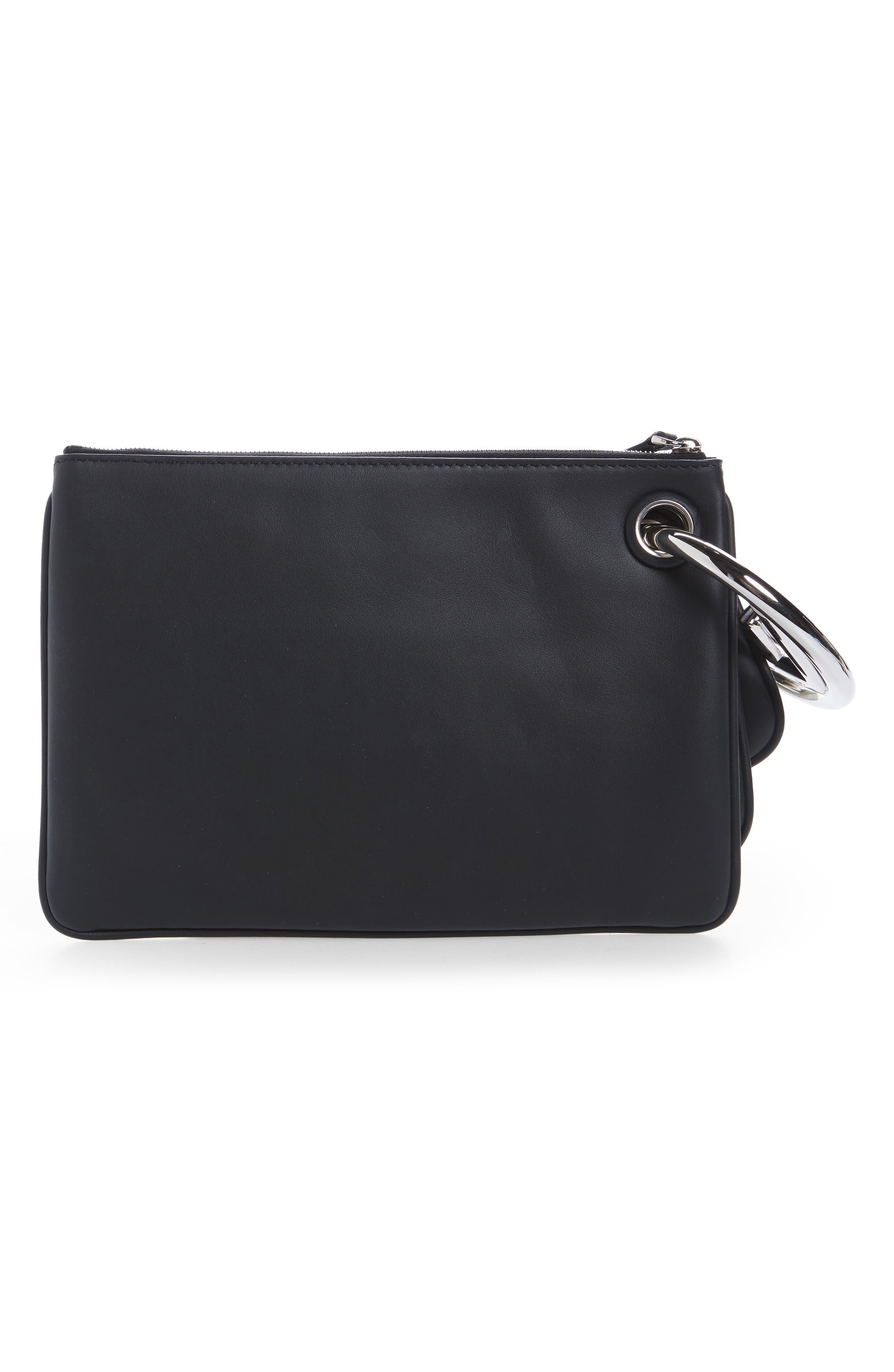 Triplette Imitation Pearl Set of Three Leather Pouches,                             Alternate thumbnail 3, color,                             Black