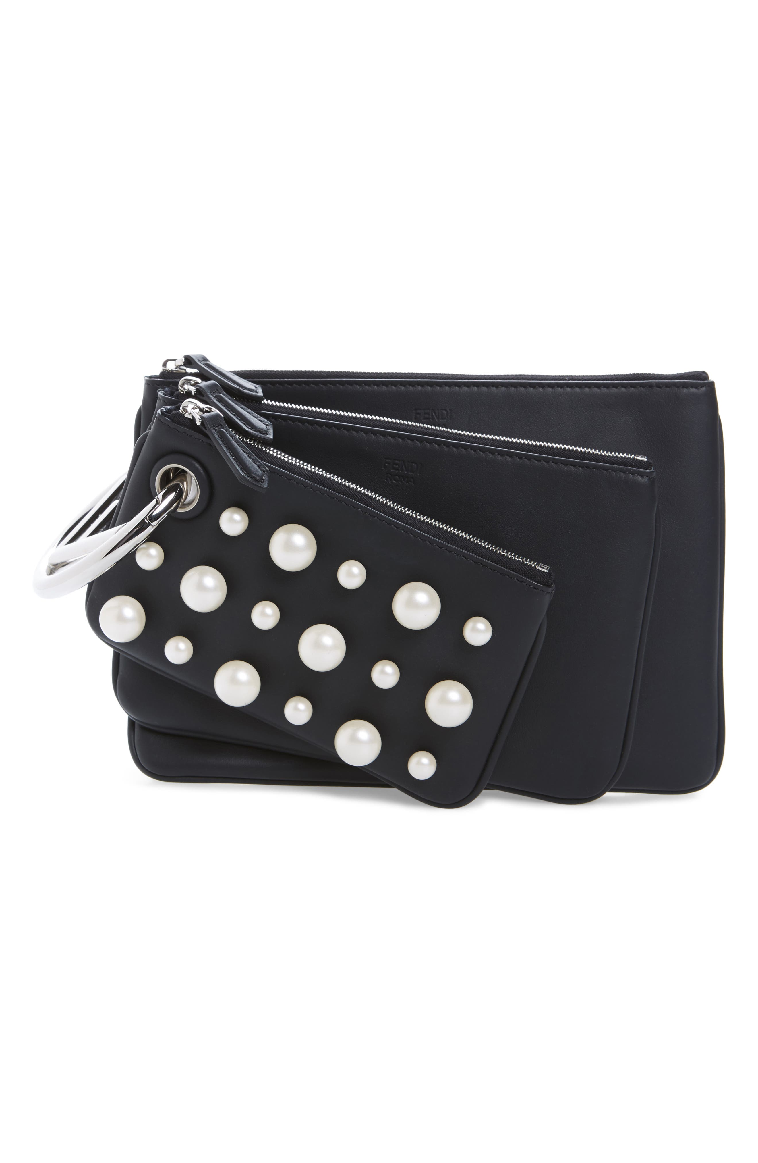 Triplette Imitation Pearl Set of Three Leather Pouches,                         Main,                         color, Black