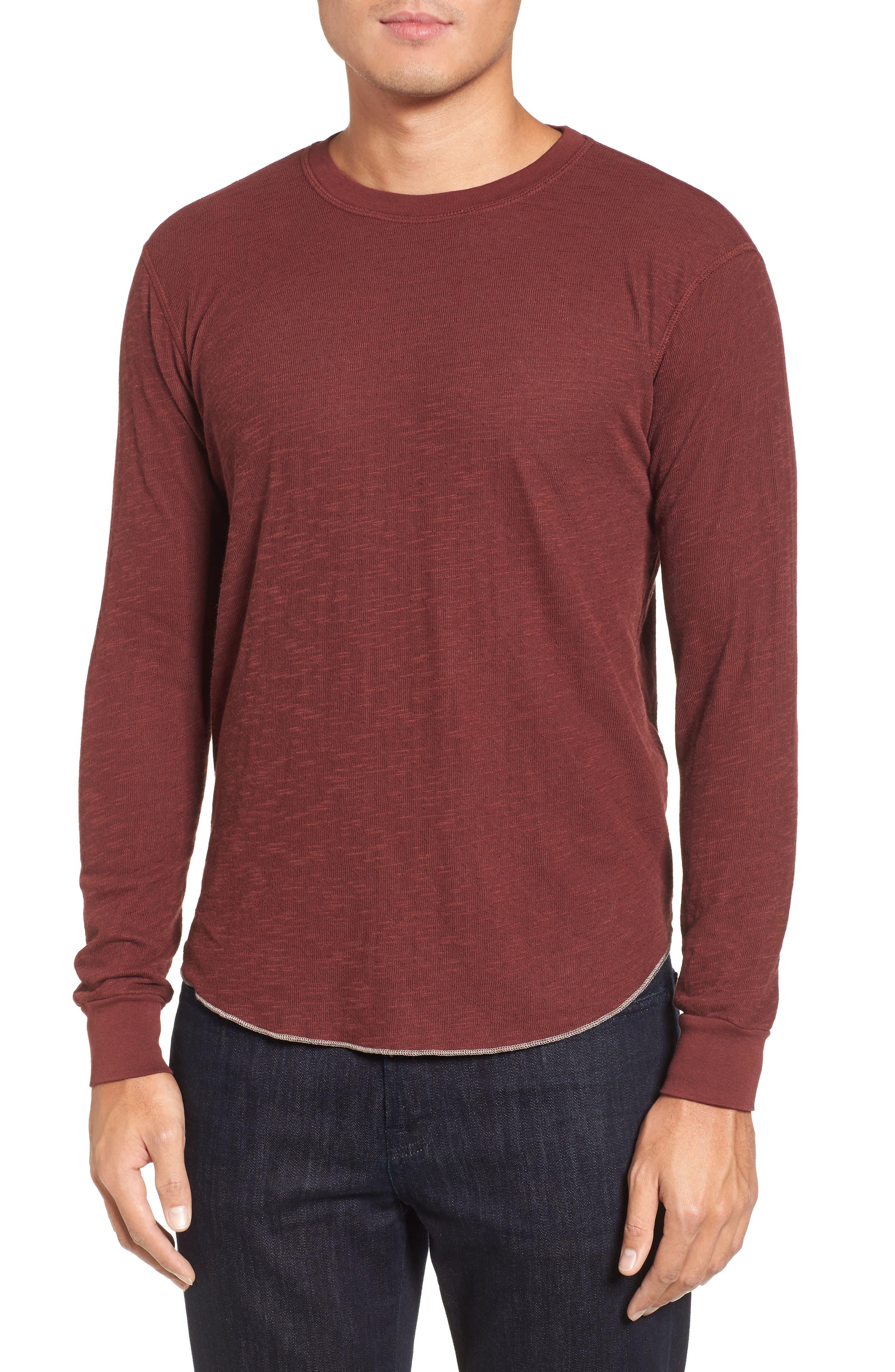 Double Layer Slim Crewneck T-Shirt,                         Main,                         color, Andorra