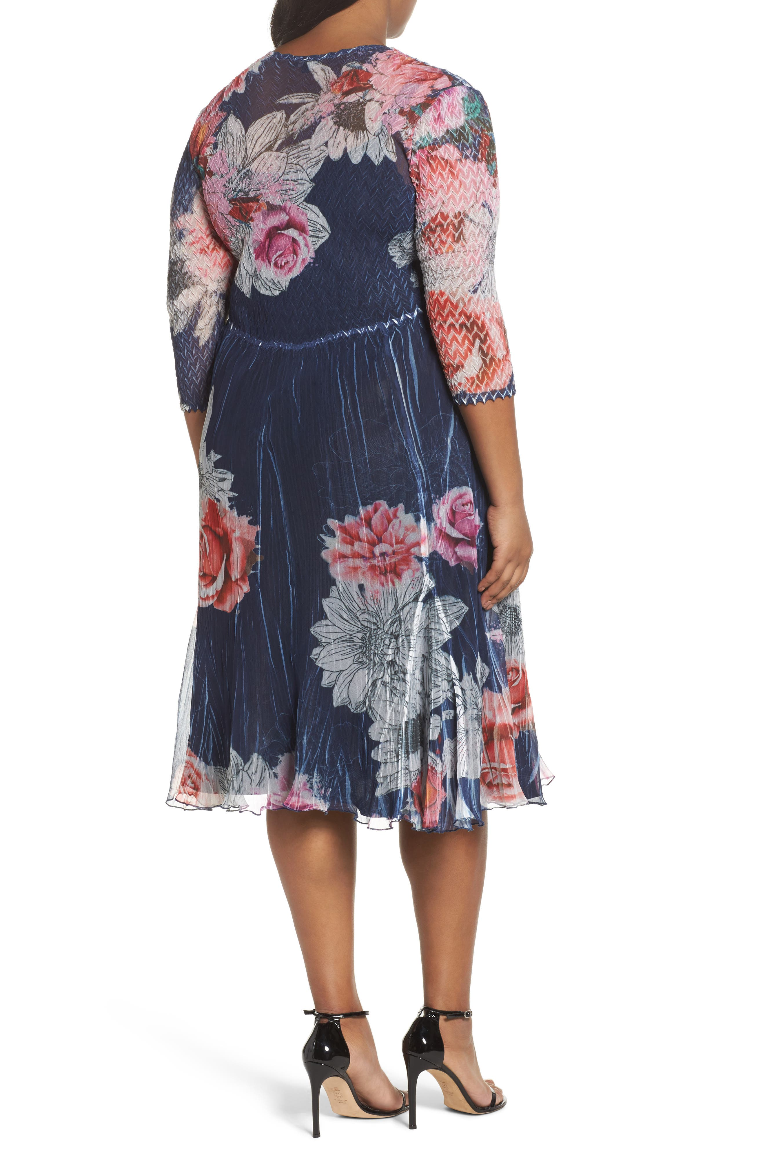 V-Neck Floral Print Chiffon Dress,                             Alternate thumbnail 2, color,                             Watercolor Fields