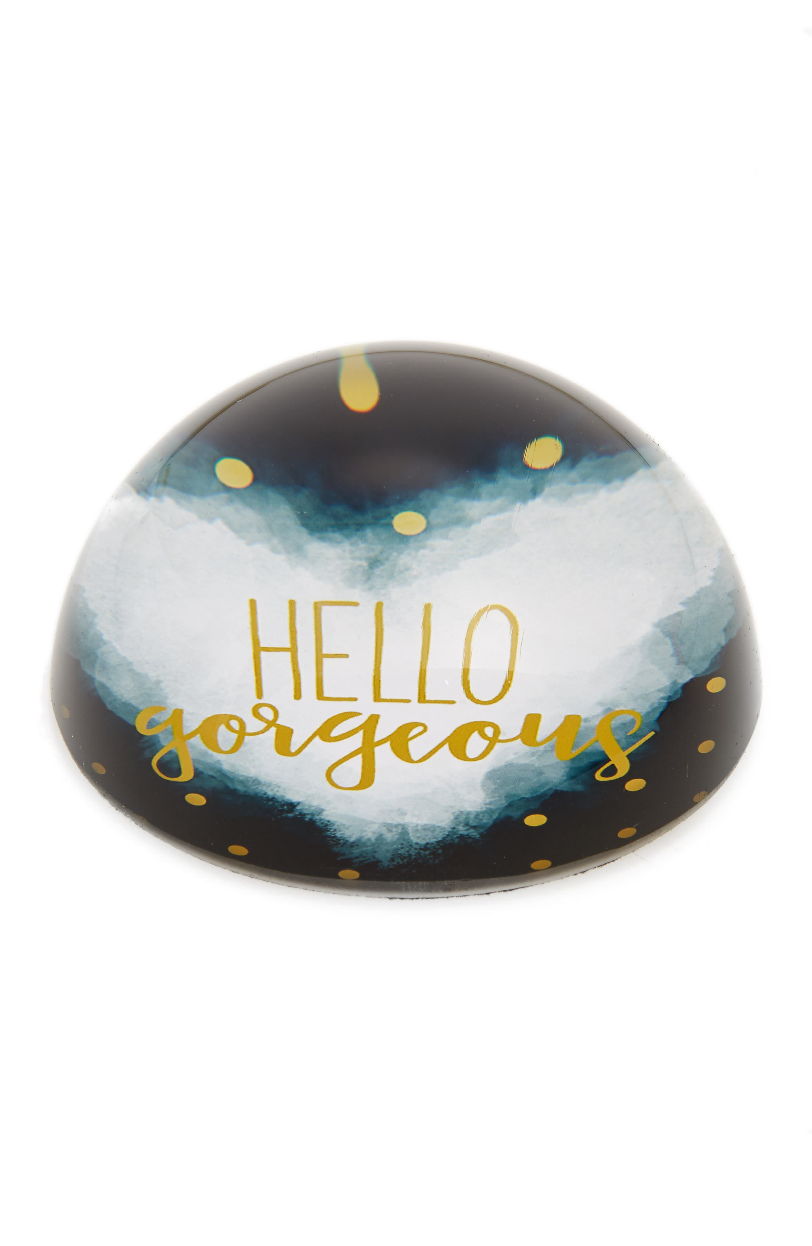 Hello Gorgeous Paperweight,                         Main,                         color, Metallic Gold