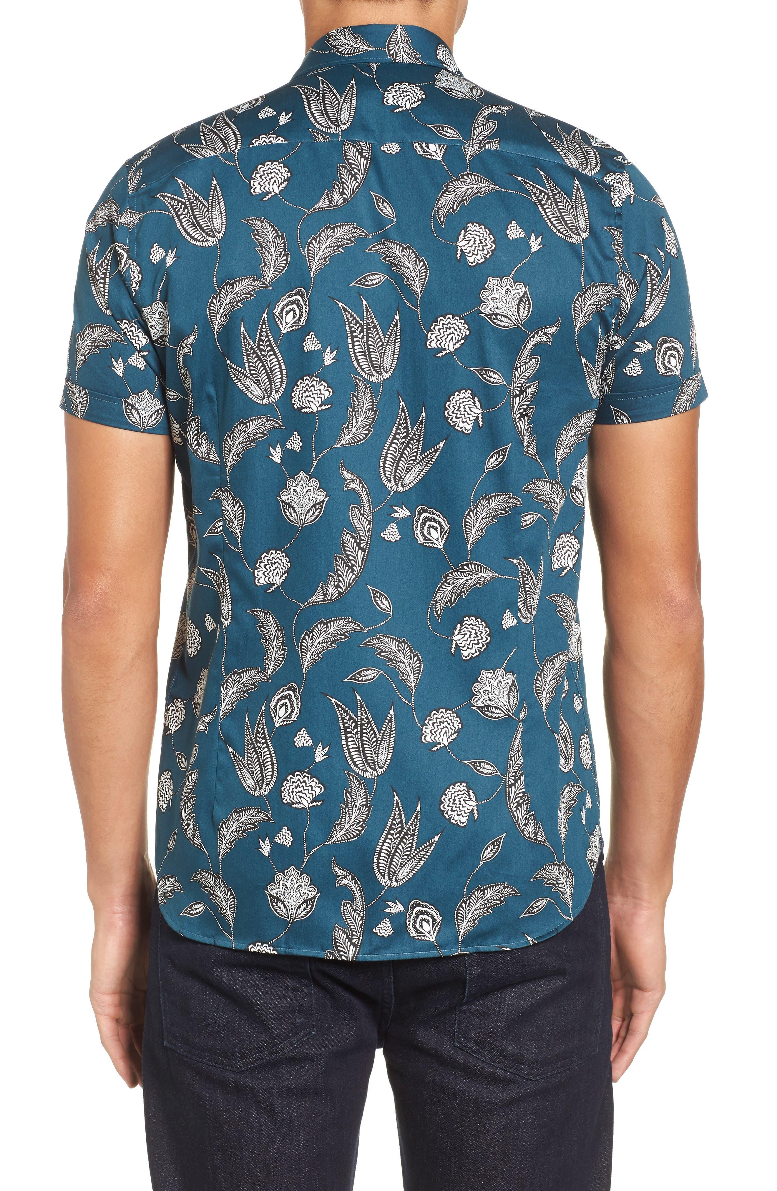 UTKU Floral Sport Shirt,                             Alternate thumbnail 2, color,                             Dark Green