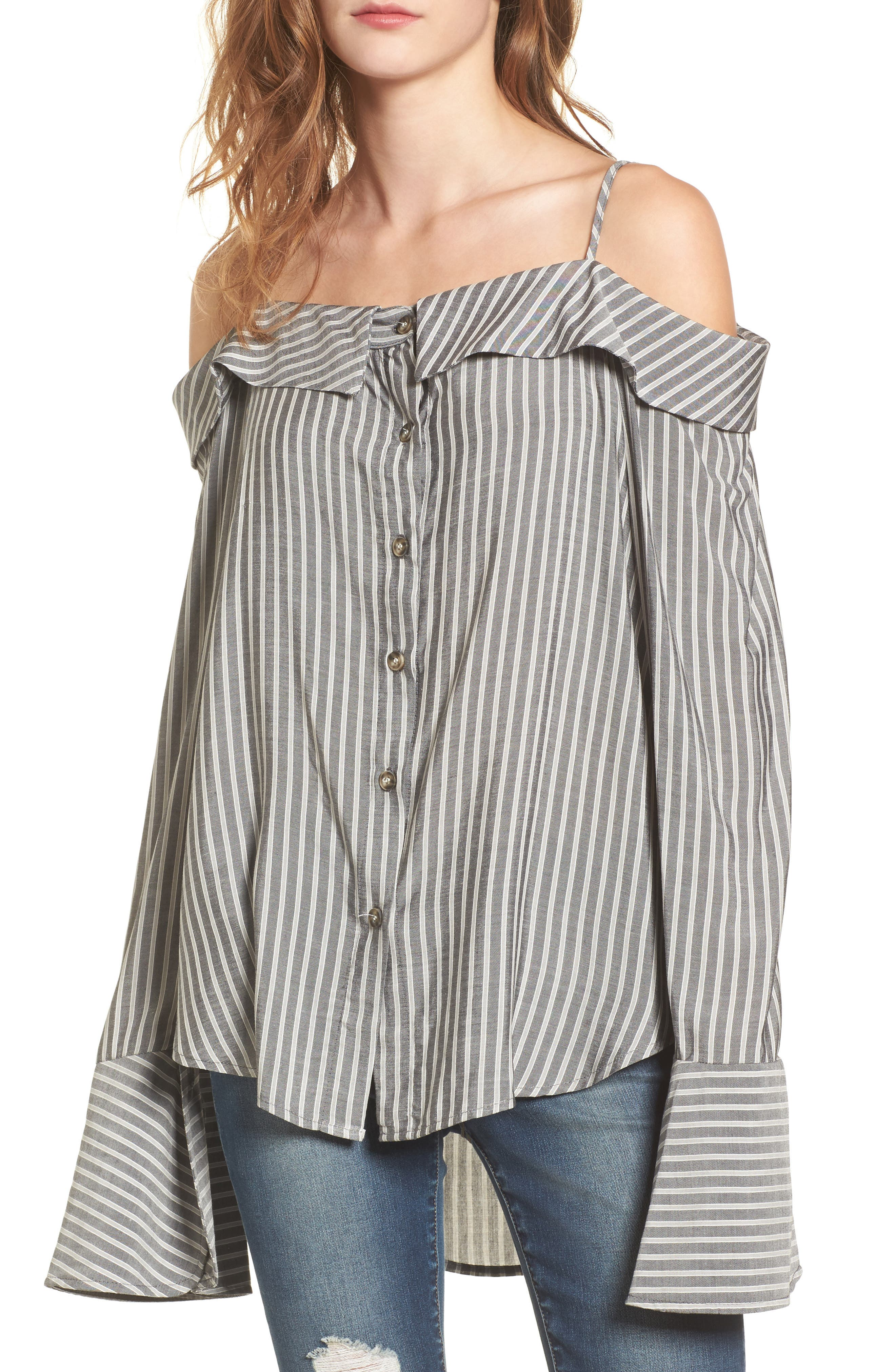 Flare Cuff Cold Shoulder Top,                             Main thumbnail 1, color,                             Stripe