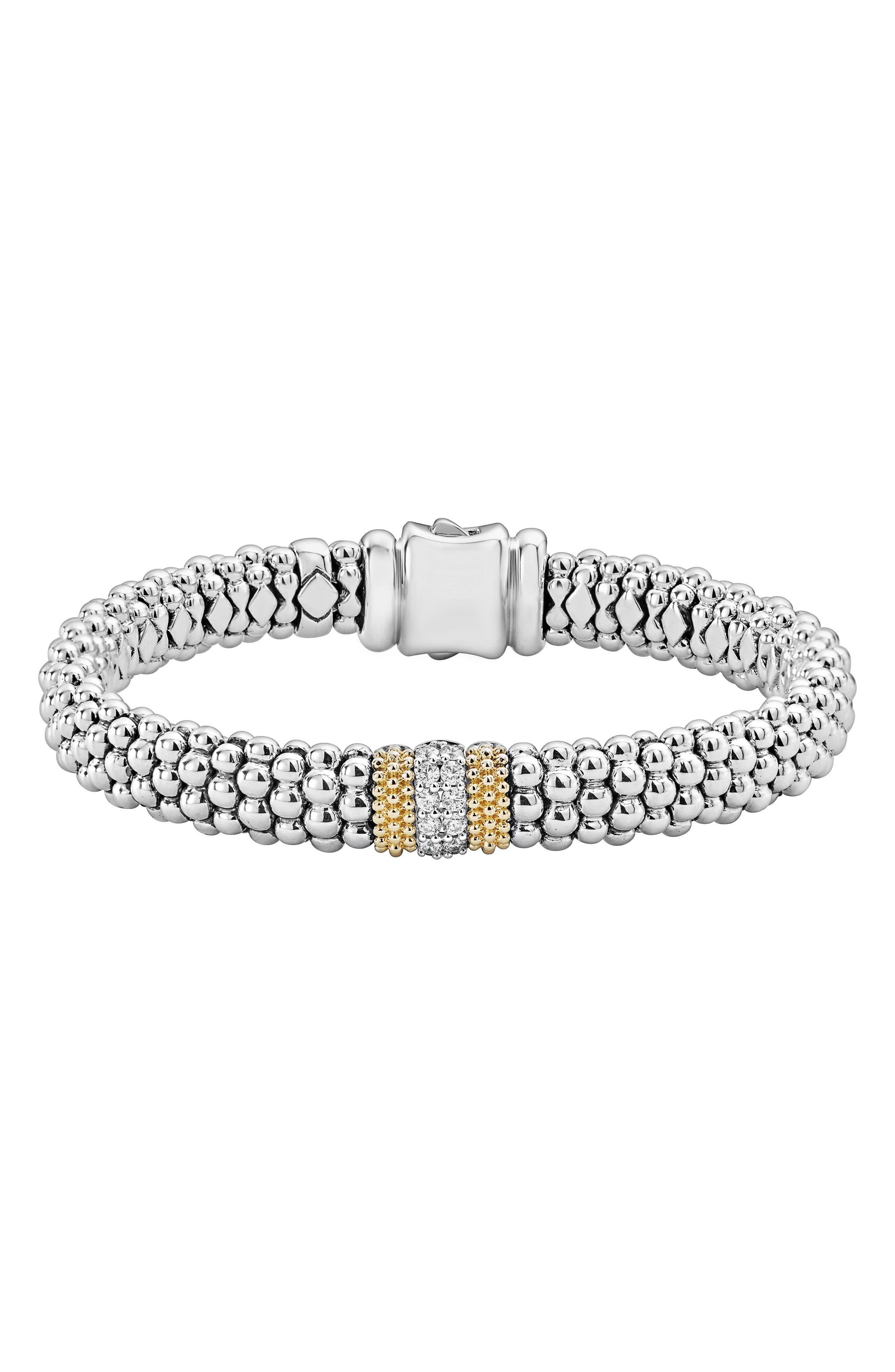 Luxe Pavé Diamond 9mm Bracelet,                             Main thumbnail 1, color,                             Diamond