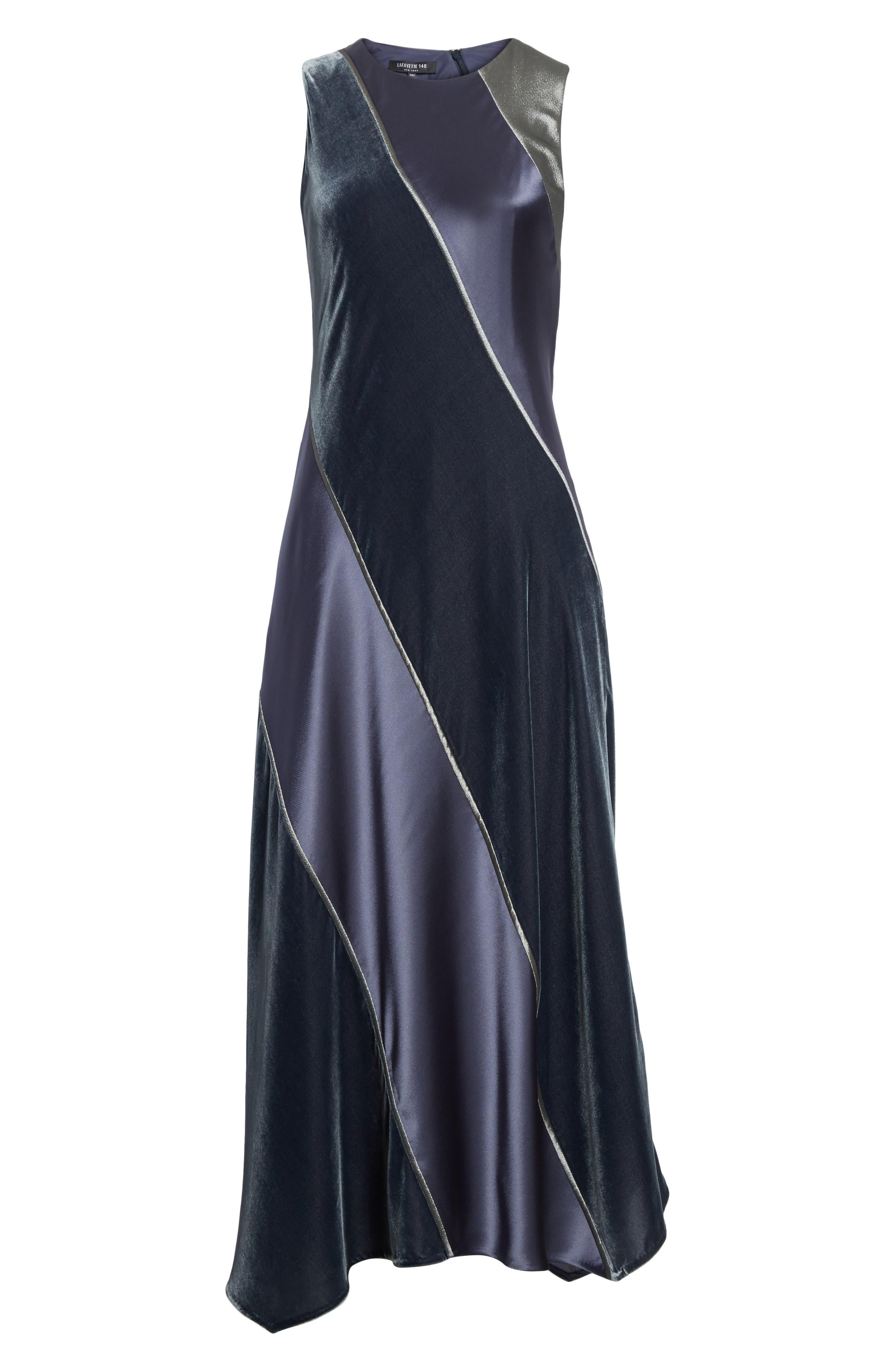 Madelia Velvet & Satin Midi Dress,                             Alternate thumbnail 6, color,                             Admiral Blue