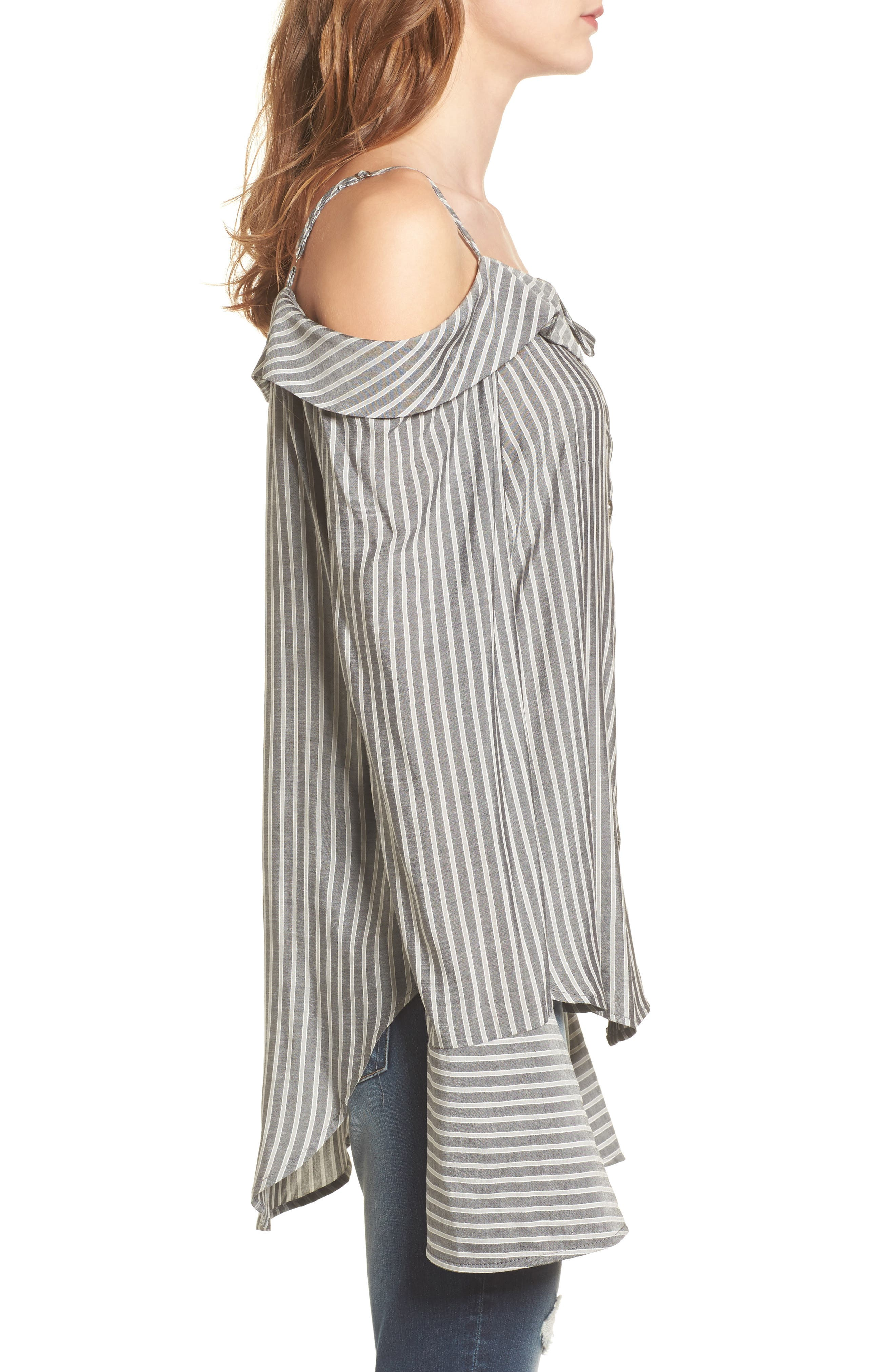 Flare Cuff Cold Shoulder Top,                             Alternate thumbnail 3, color,                             Stripe