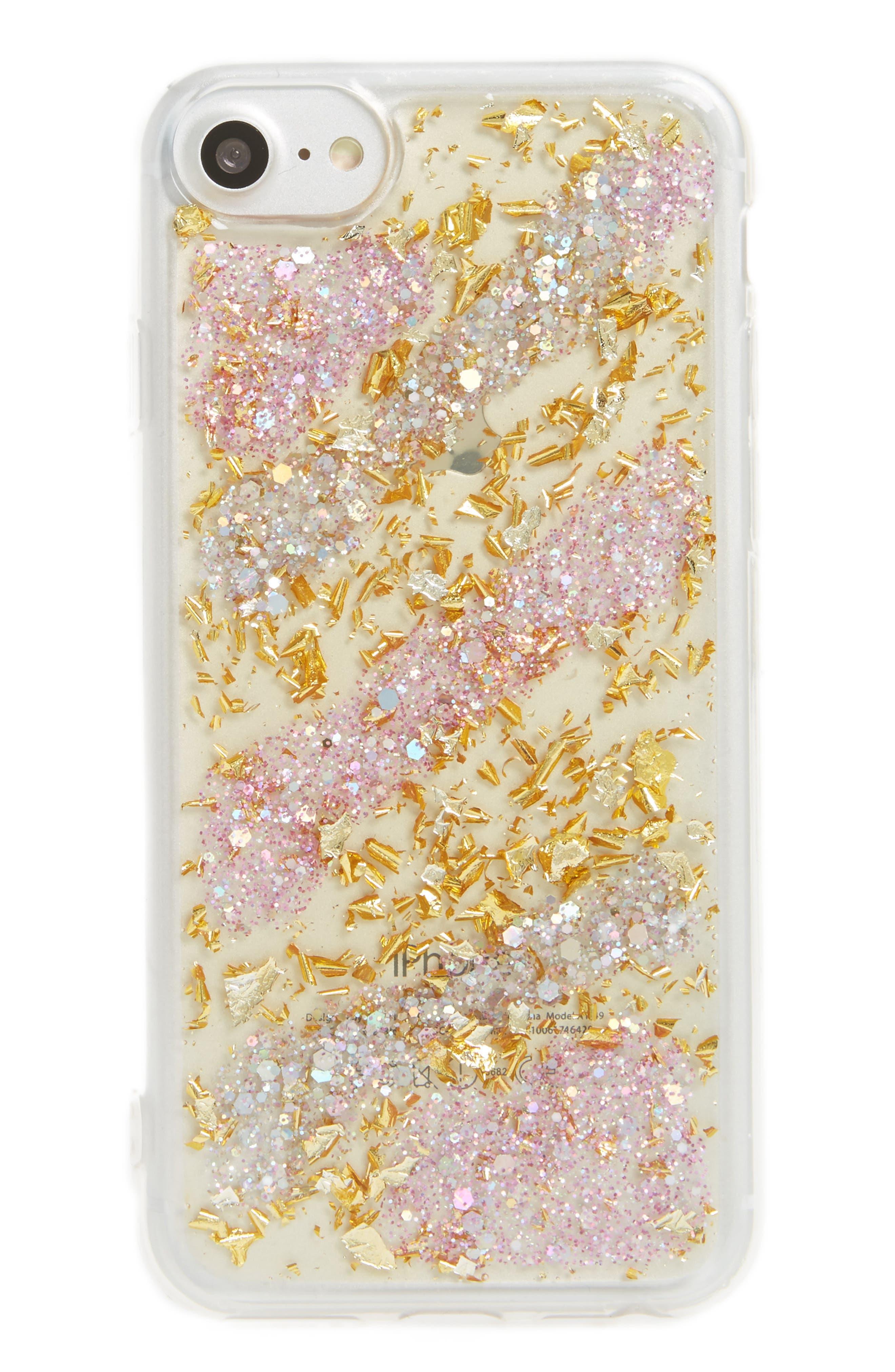 Glitter Stripe iPhone 6/6s/7 Case,                         Main,                         color, Pink Gold