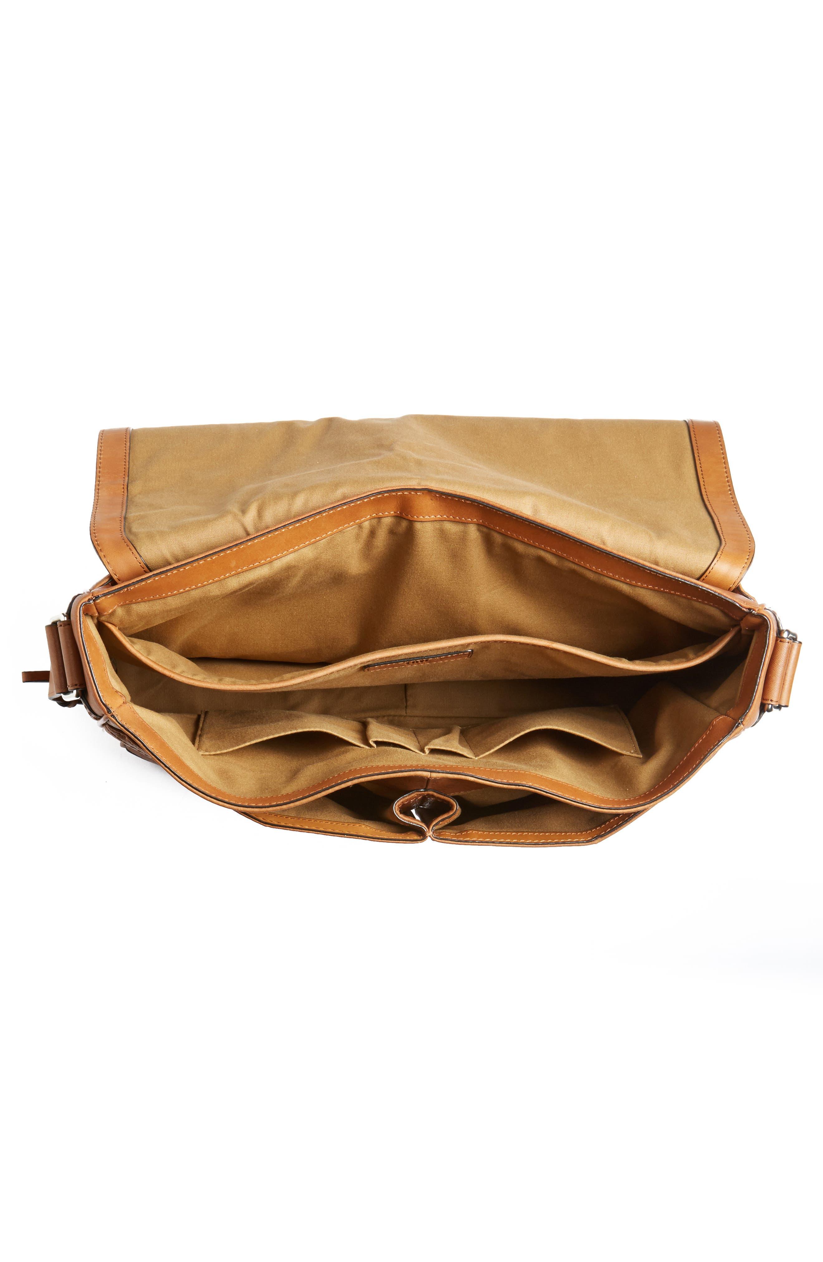 Oliver Leather Messenger Bag,                             Alternate thumbnail 4, color,                             Cognac