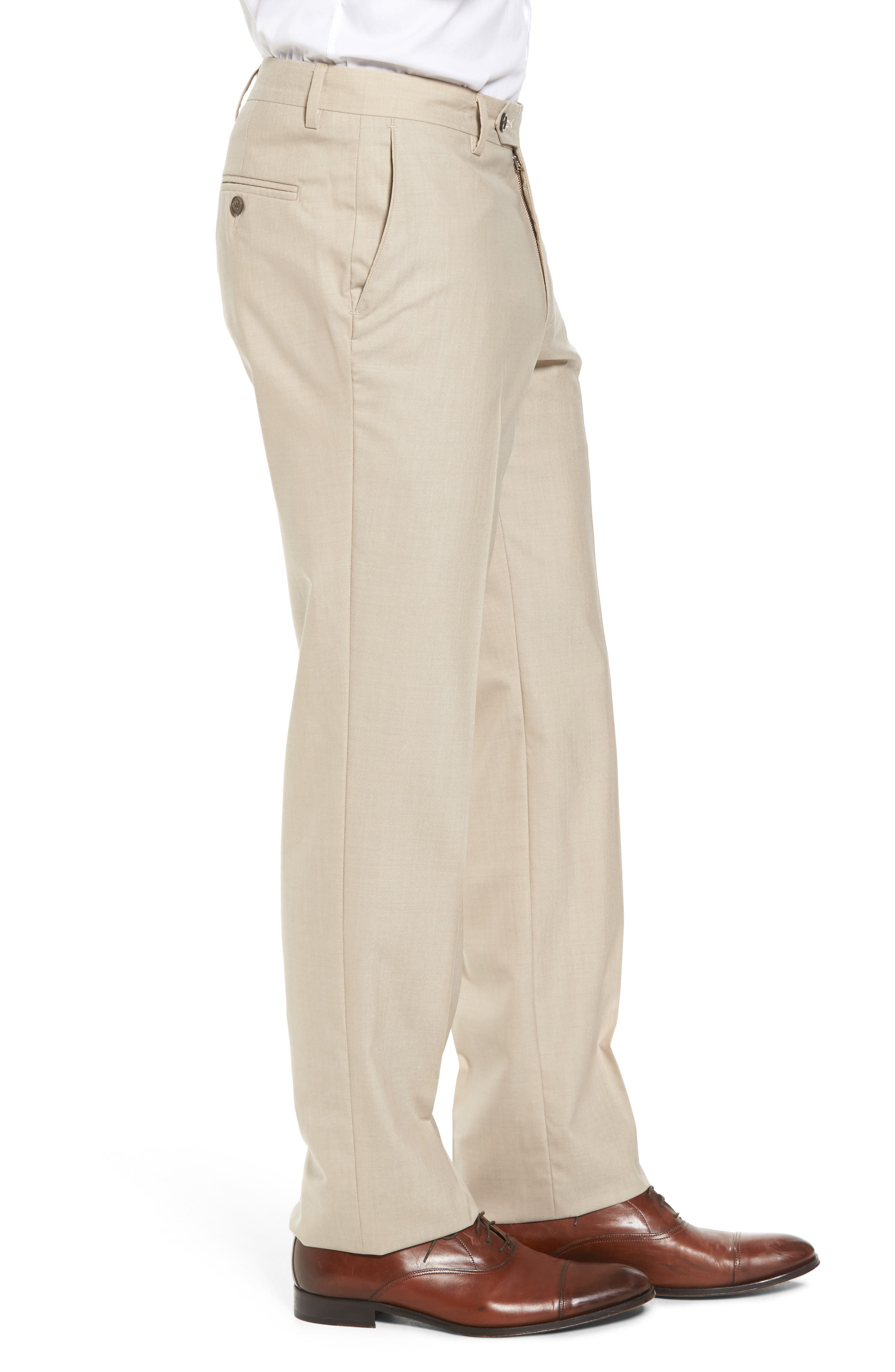 Flat Front Stretch Solid Wool Trousers,                             Alternate thumbnail 3, color,                             Tan