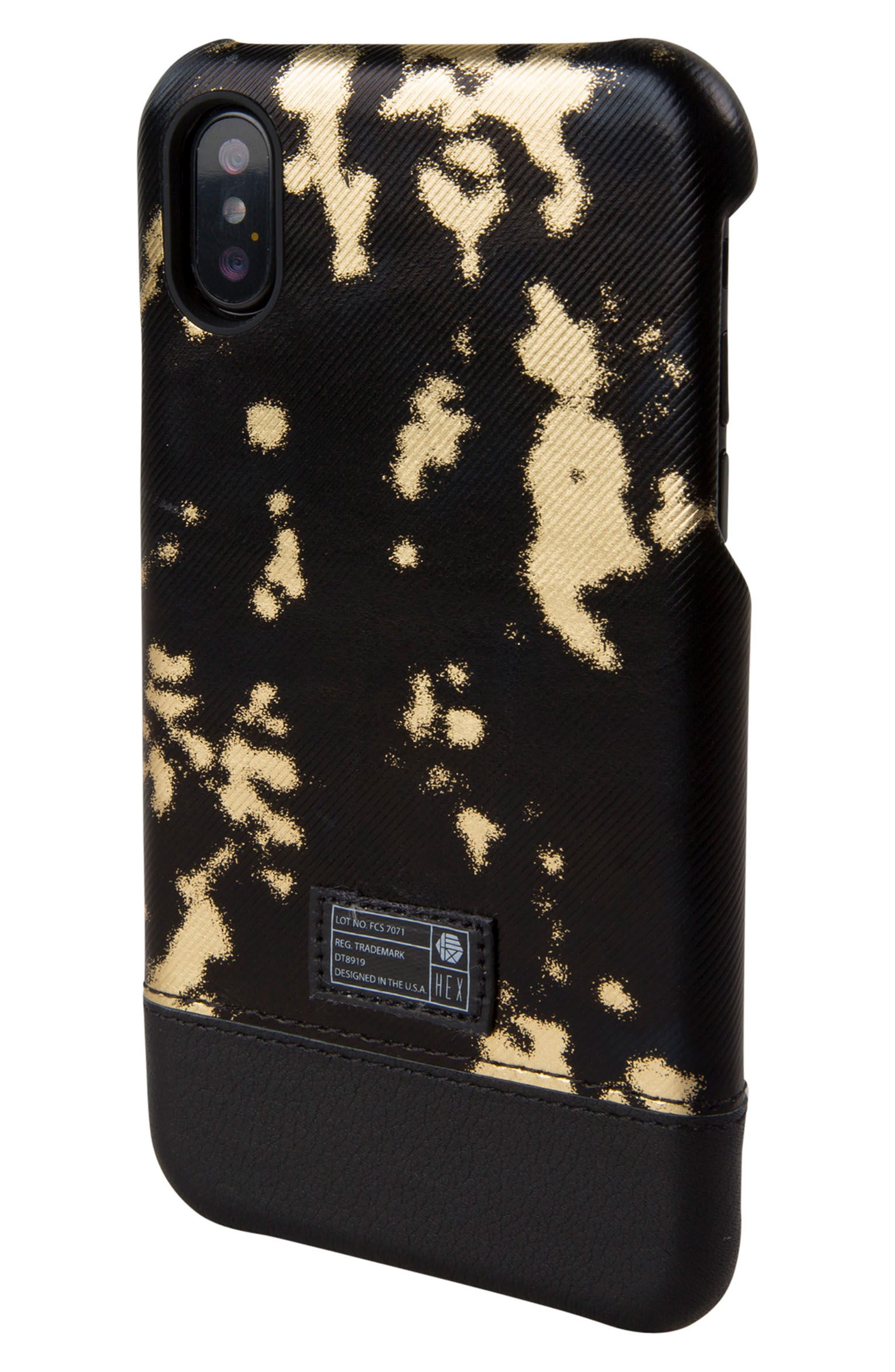 Focus Leather iPhone X Case,                         Main,                         color, Black/ Gold